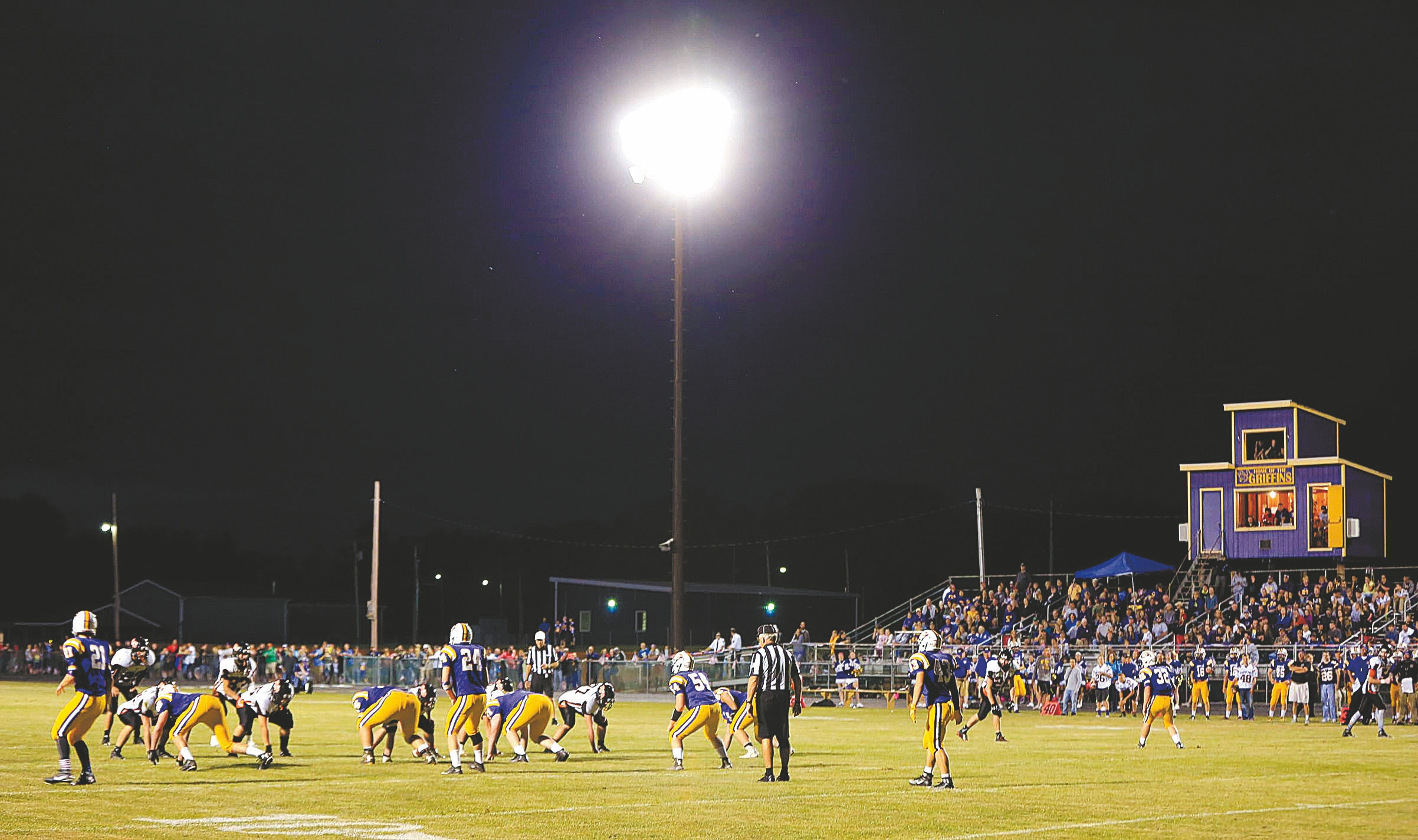 Starpoint, Sweet Home and Williamsville North are among the teams shifting from Saturday afternoon to Friday night games. Springville, shown here, is among the teams that draws well when it plays under the lights at Pop Warner Field home. (Harry Scull Jr./Buffalo News)