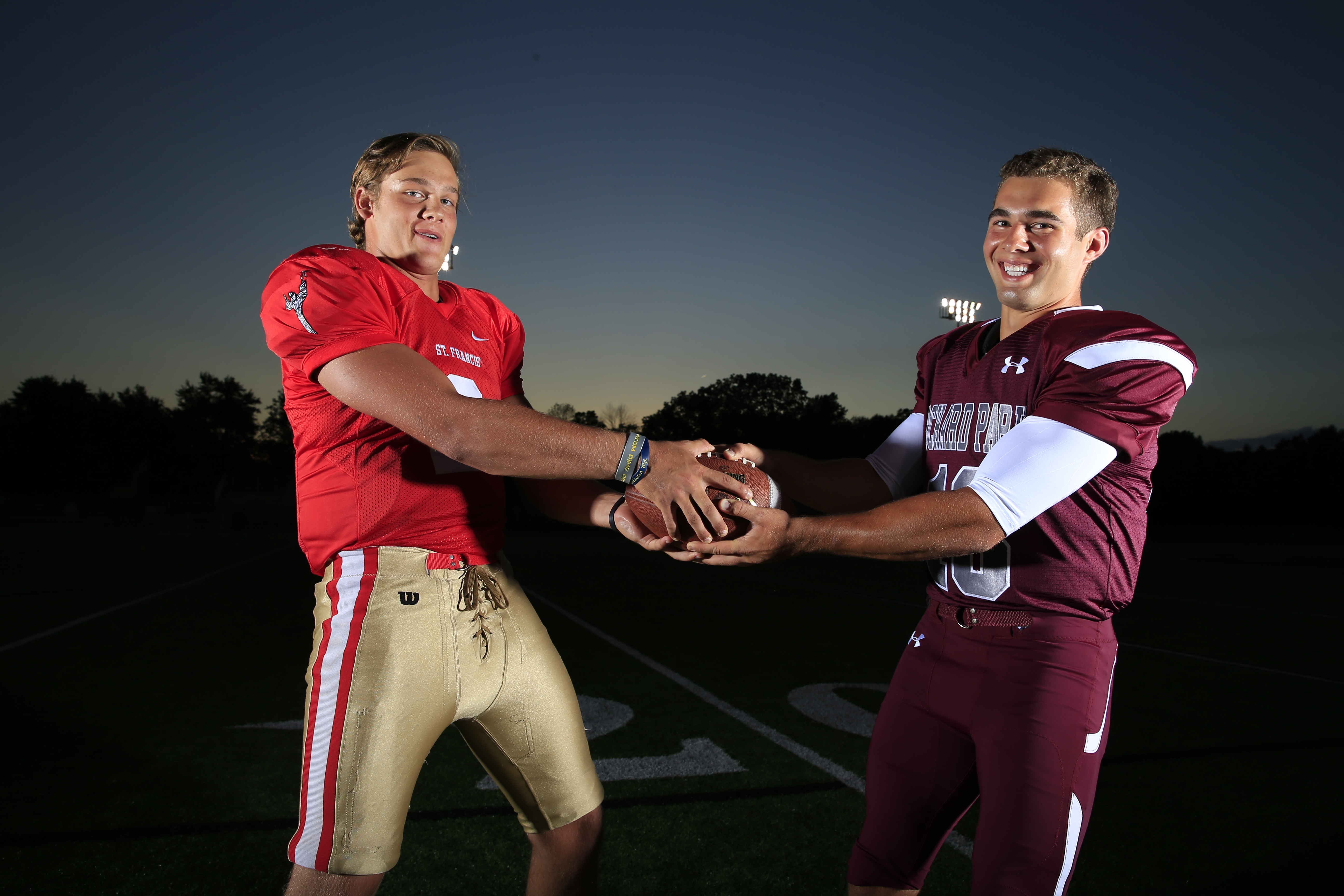 They could have turned into fierce and bitter rivals once they matched their athletic talents in the swimming pool back when they were 5 years old. Instead, St. Francis quarterback Jerry Hickson and Orchard Park quarterback Dillon Janca developed a strong bond that persists as both try to lead their schools to postseason glory while carving out a place of prominence in the Western New York record book. (Harry Scull Jr./Buffalo News)