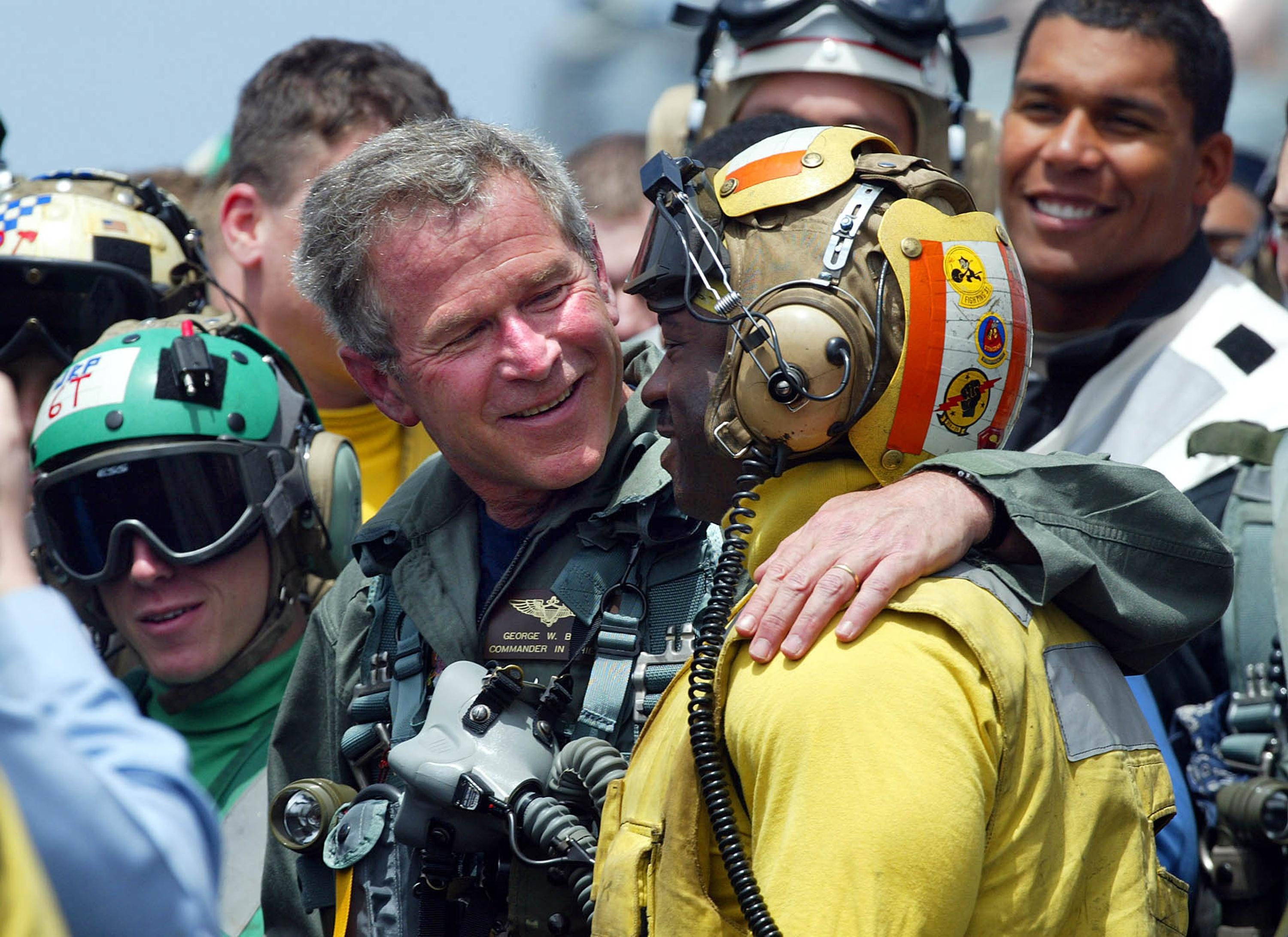 "President George W. Bush, aboard the USS Abraham Lincoln five weeks after the U.S. invasion of Iraq, declared ""Mission Accomplished."""