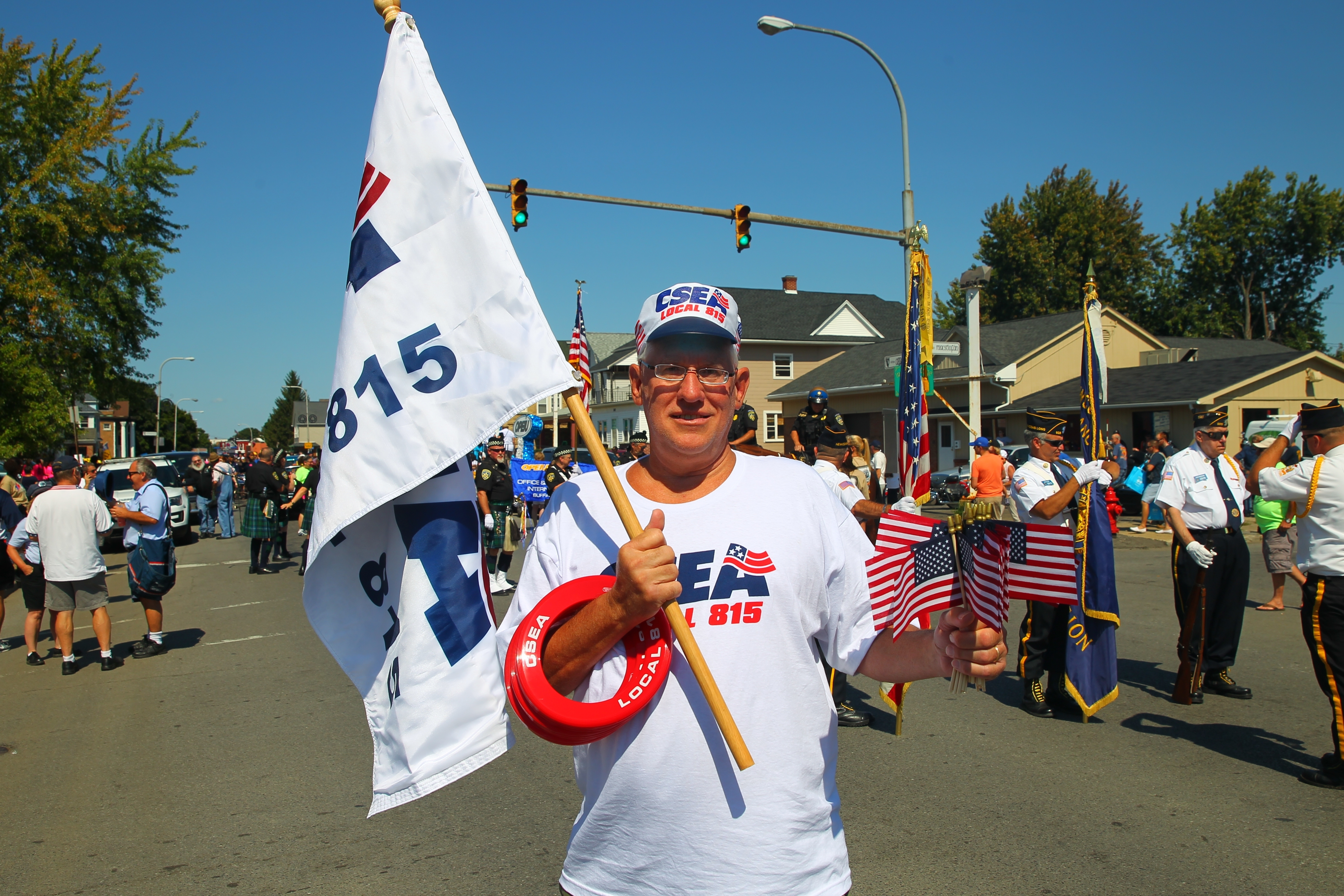 Steve Szymura, executive V.P. of CSEA Loacal 815 which represents Town, Village and County Employee's, at the Labor Day parade from the Buffalo Irish Center south on Abbott Road to Cazenovia Street and into the park in Buffalo, N.Y. on Monday Sept. 5, 2016.  (John Hickey/Buffalo News)