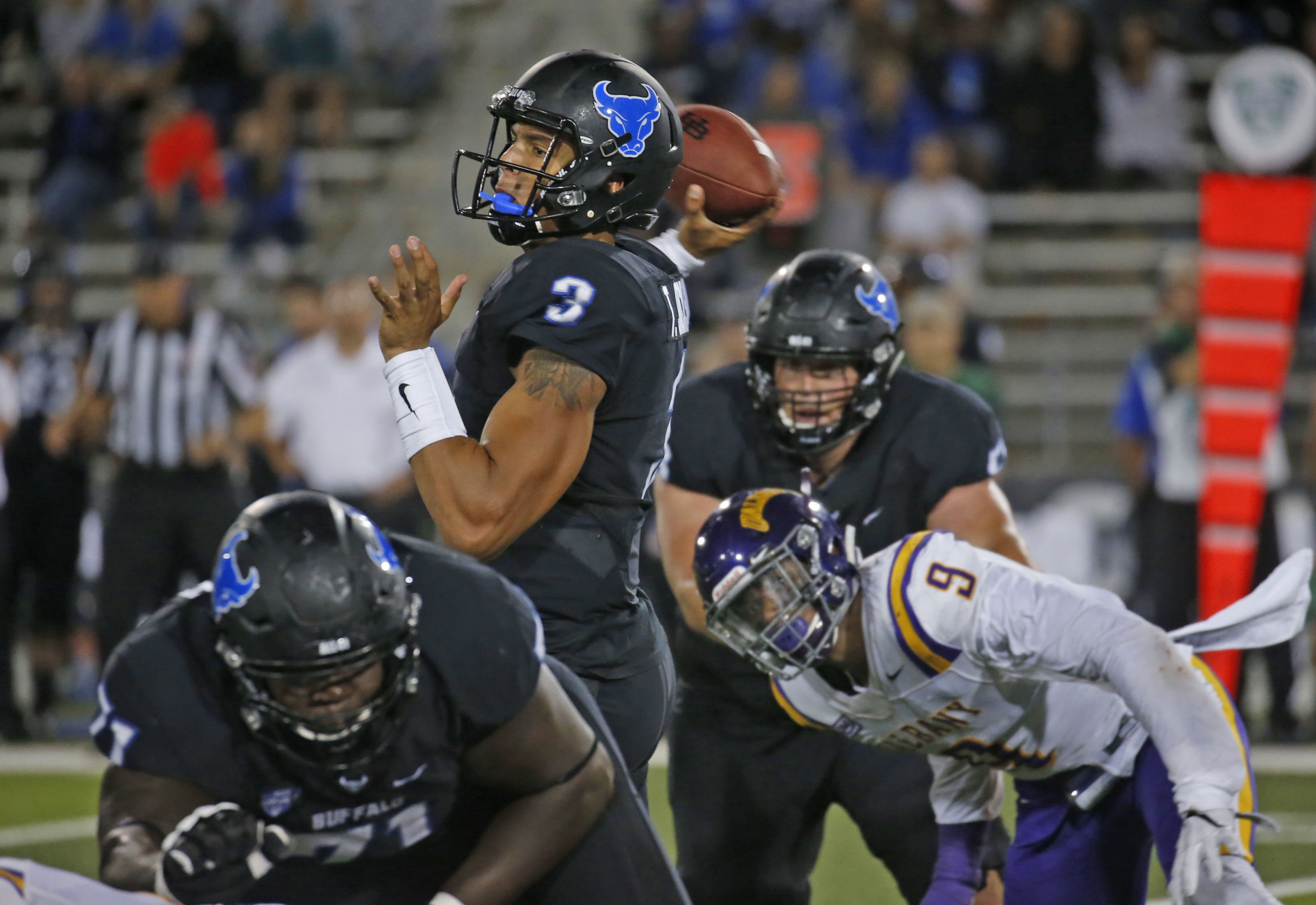 UB redshirt freshman quarterback Tyree Jackson completed 14 of his 25 passes for 125 yards in the Bulls' season-opening loss to Albany.