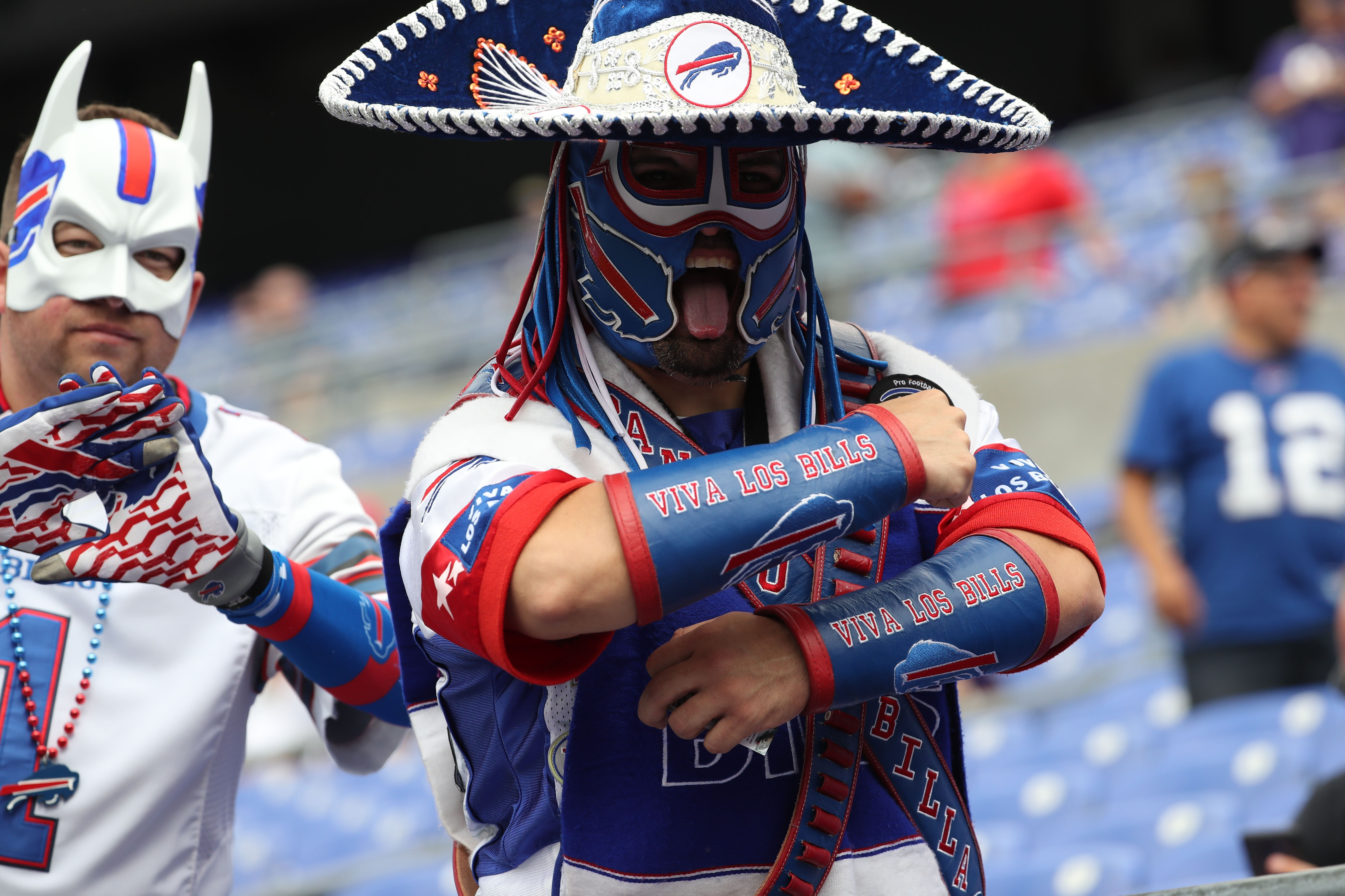 Bills fans during warm ups at M&T Bank Stadium in Baltimore,MD on Friday, Sept. 11,2016.  (James P. McCoy/ Buffalo News)