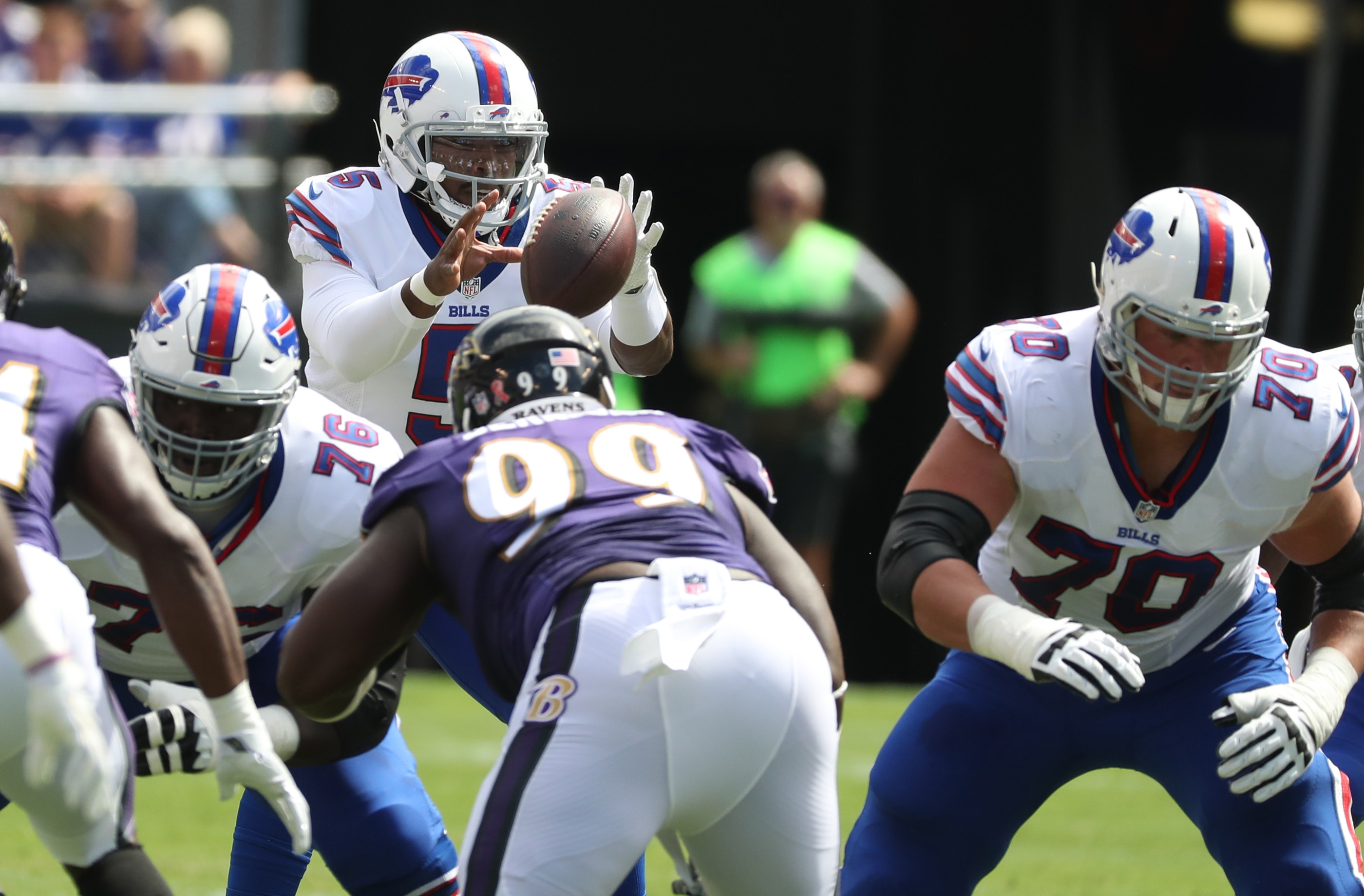 Buffalo Bills quarterback Tyrod Taylor was bottled up by the Ravens.