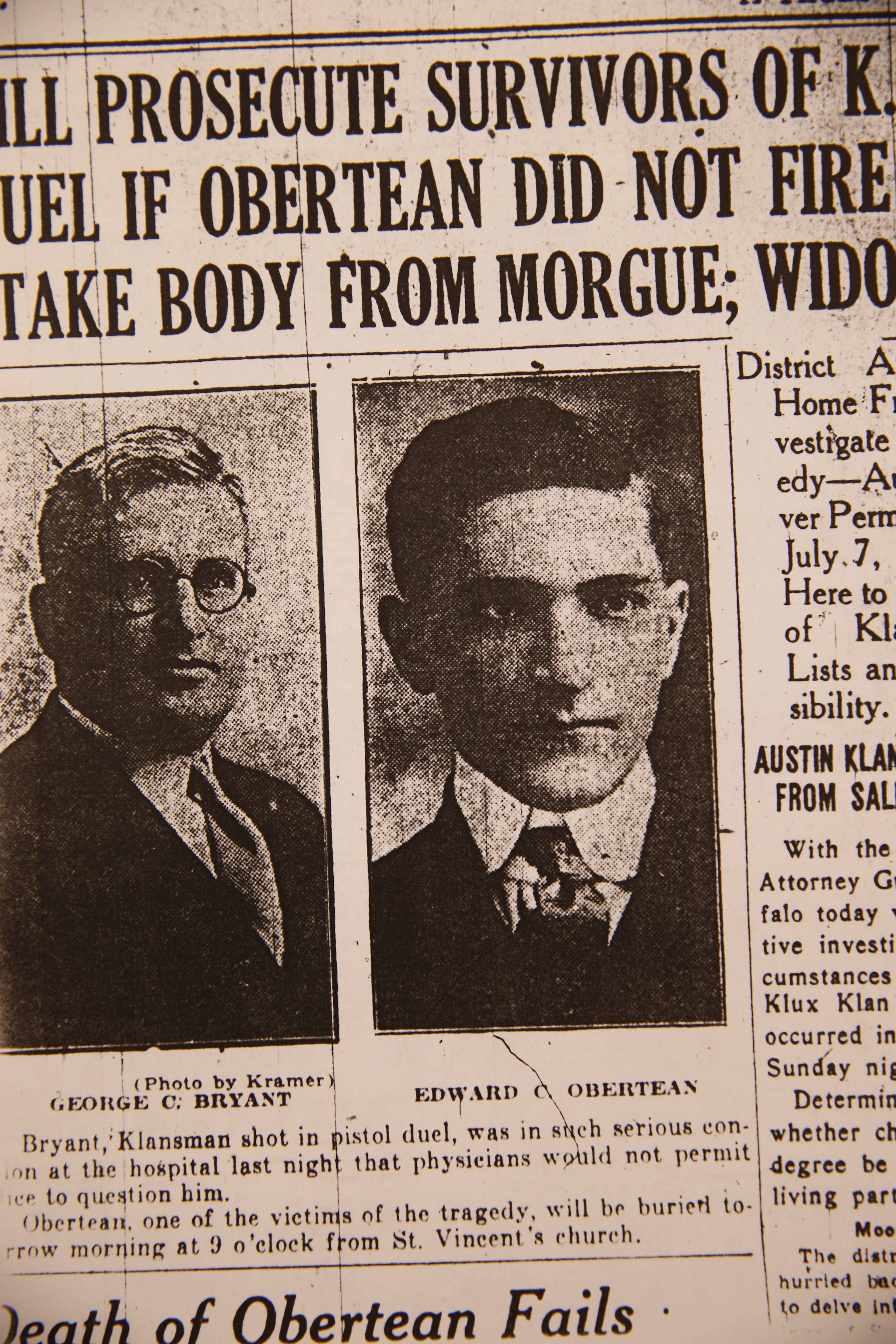 """A Sept. 3, 1924, article from the Buffalo Courier about Edward C. Obertean, an undercover Buffalo police """"operative"""" who was shot and killed in August 1924. The incident is retold in Shawn Lay's book on the Klan's activities along the Niagara Frontier."""