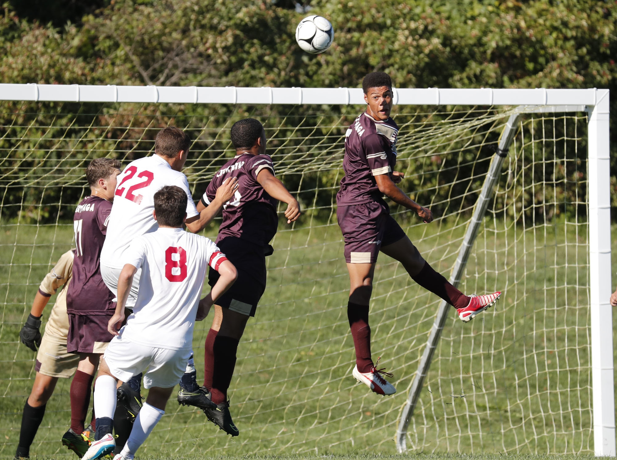 Cheektowaga's Steve Austin heads a ball against Starpoint in Monday's 3-0 loss to the Spartans.