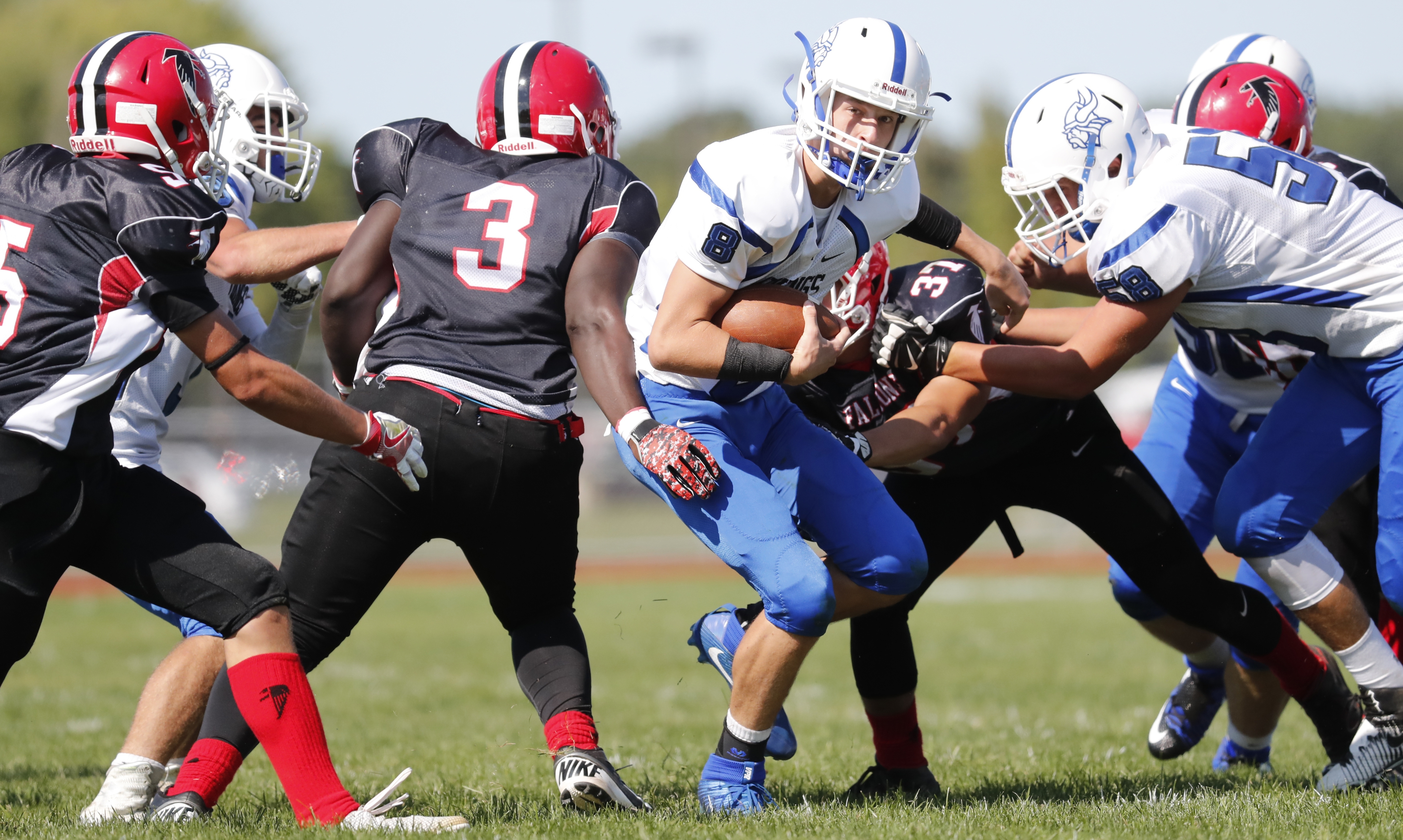 Quarterback Cam Sionko, with the ball, and the Grand Island Vikings take a 2-0 record into Week Three of the Section VI football season.