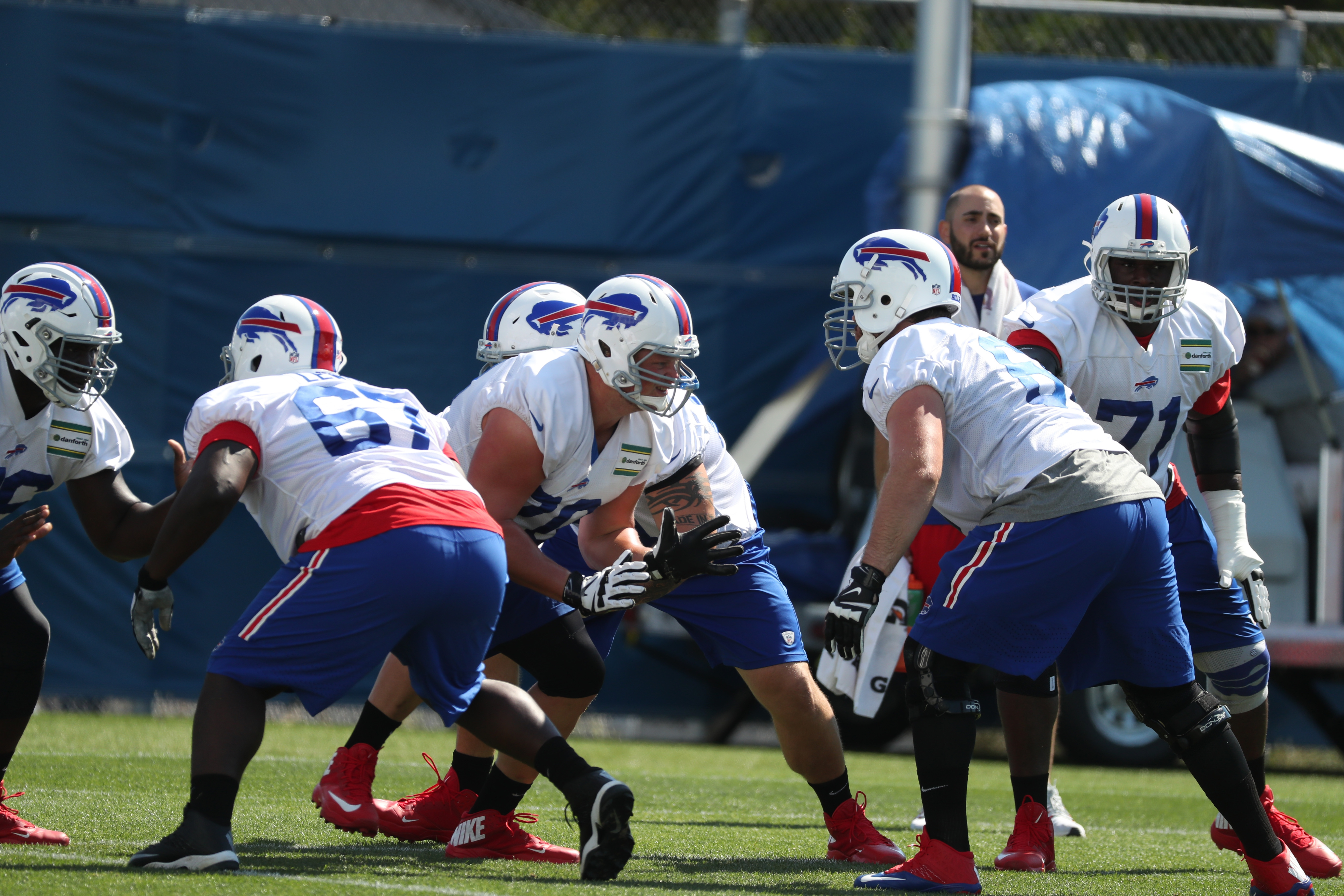 Buffalo Bills offensive line works on a blocking drill during Tuesday's practice.