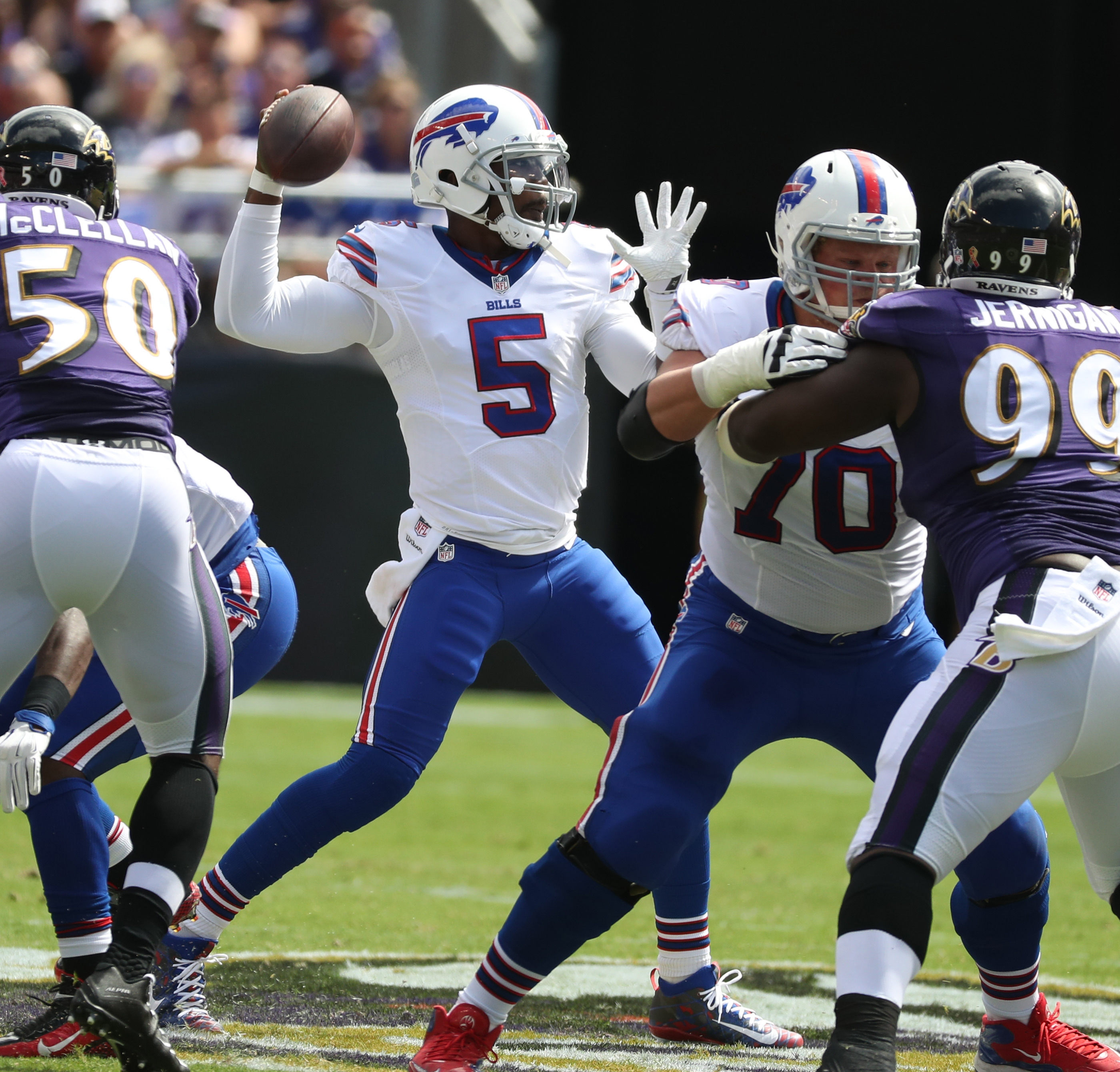 Tyrod Taylor during the first quarter of an uninspiring performance in Baltimore.