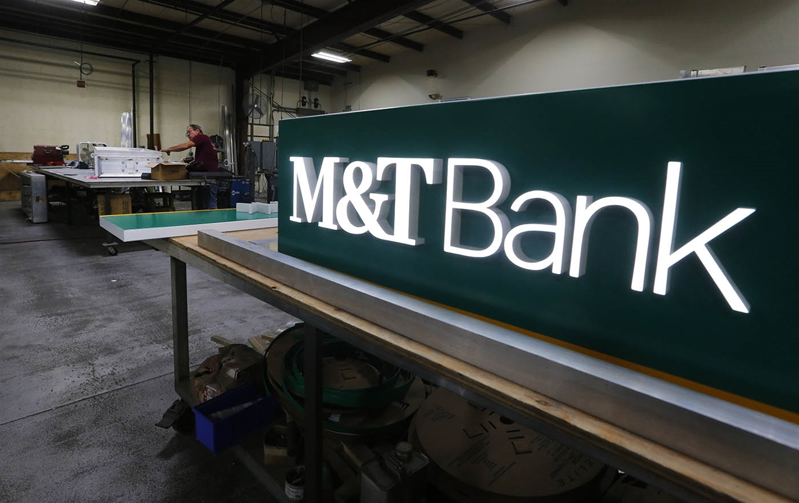 The new M&T Bank logo will appear on signs  at about 90 locations in Western New York. The logo was last updated in 2006. (Mark Mulville/Buffalo News)