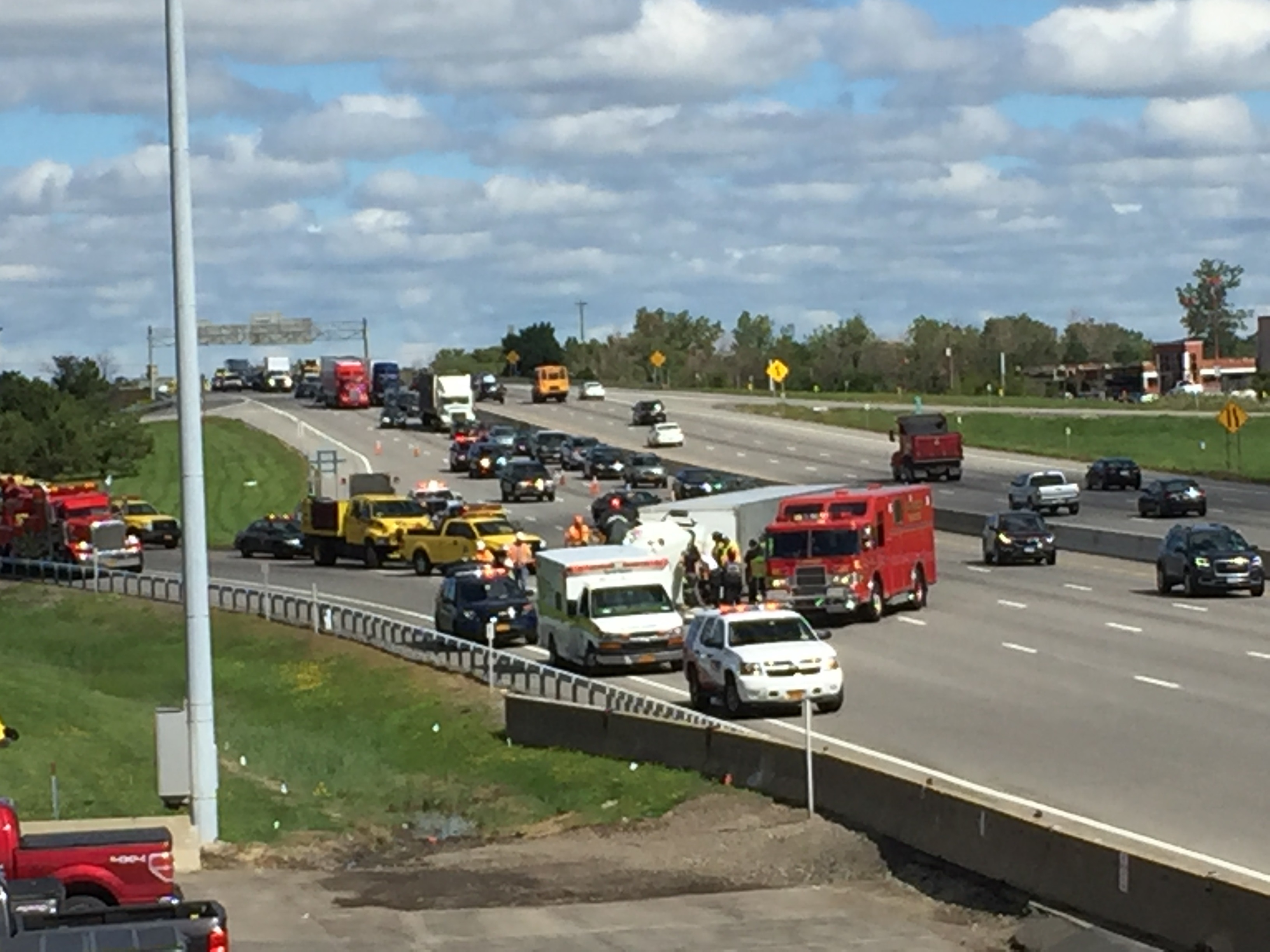 A tractor-trailer overturned on the mainline Thruway in Cheektowaga on Thursday morning. (State Police)