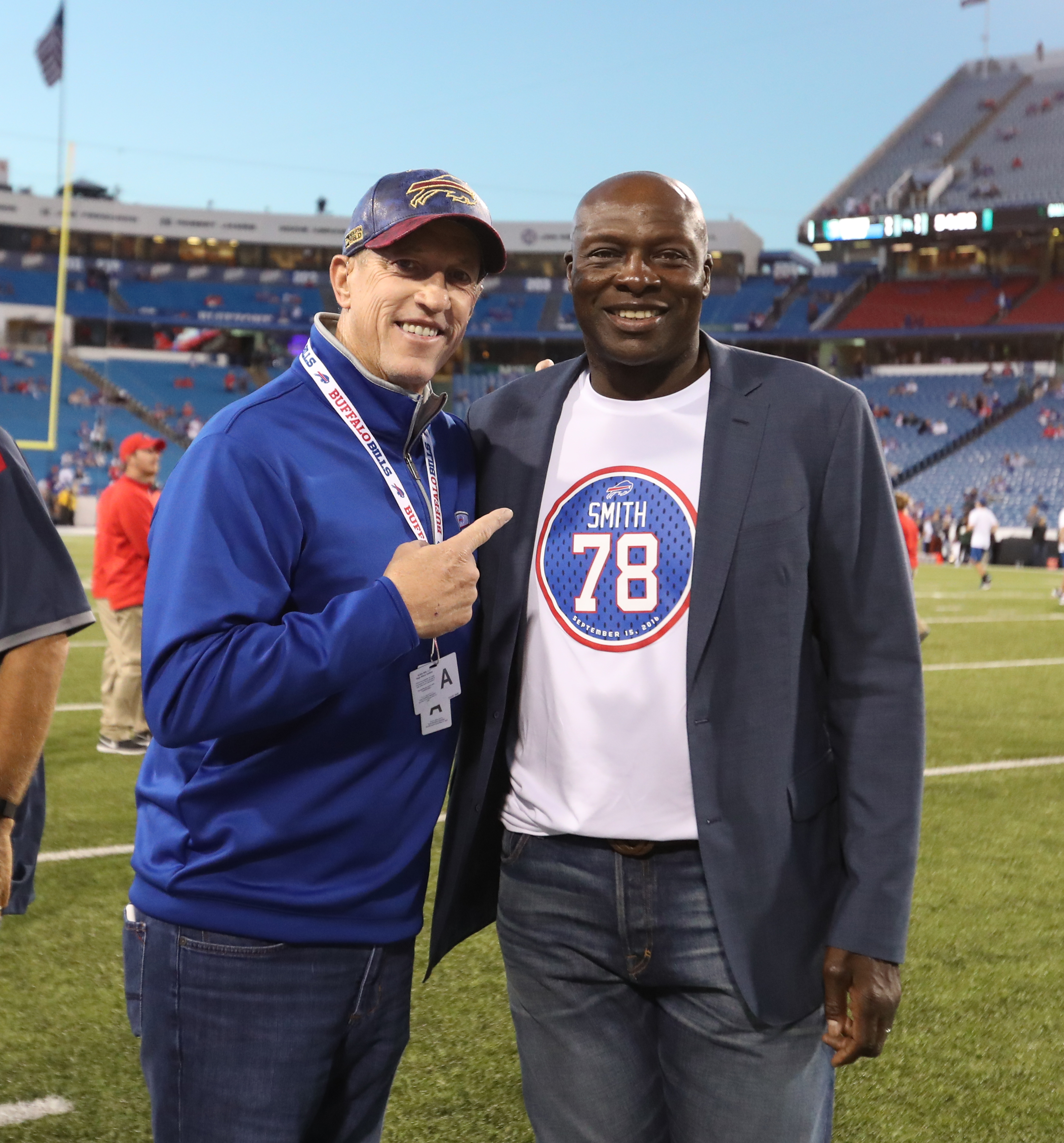 Jim Kelly poses on the sidelines with Bruce Smith before the game at New Era Field in Orchard Park,MD on Thursday, Sept. 15, 2016.  (James P. McCoy/ Buffalo News)