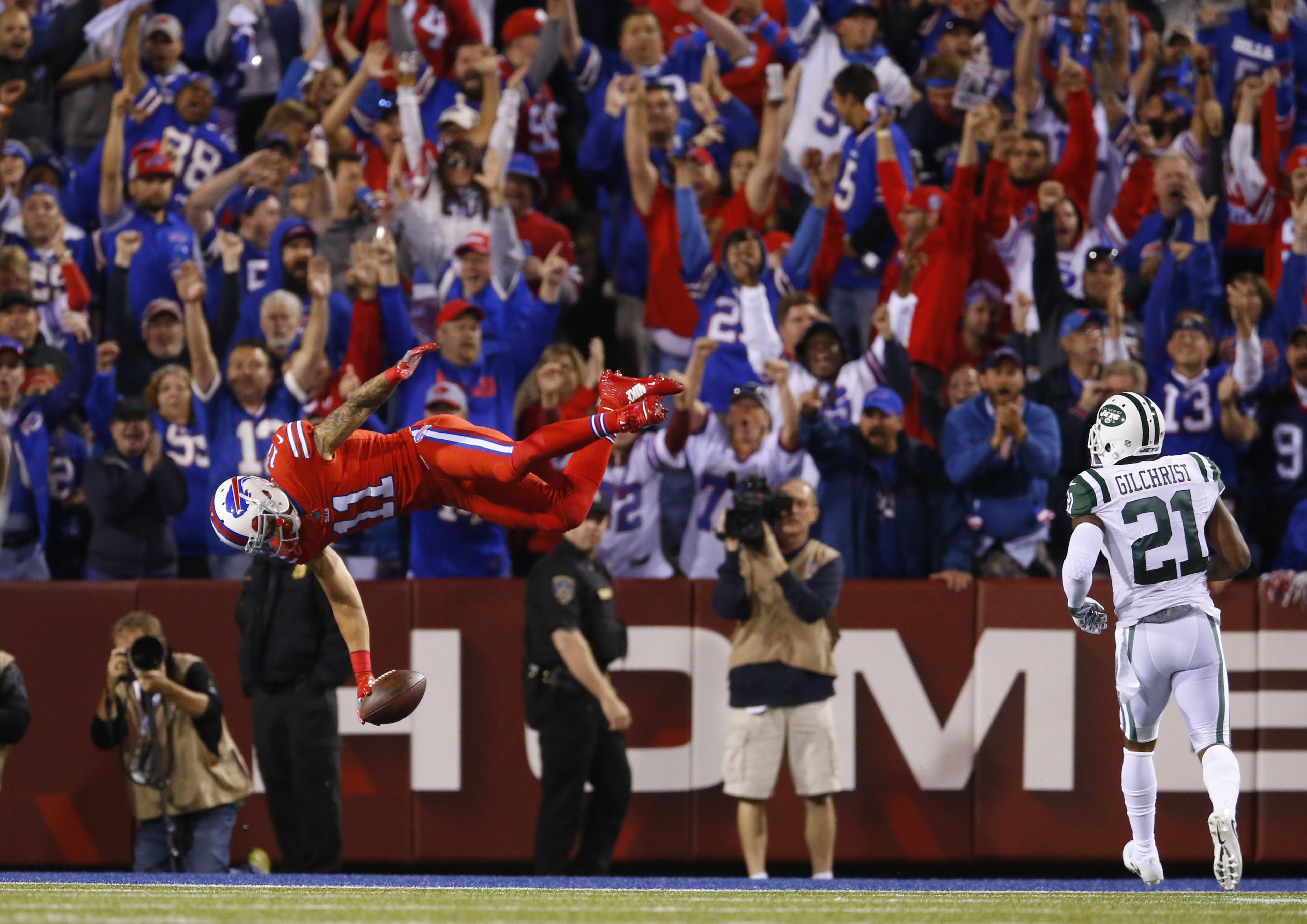 Buffalo Bills wide receiver Greg Salas flips into the end zone for a 71-yard touchdown reception against the New York Jets during the third quarter at New Era Field in Orchard Park, N.Y. on Thursday, Sept. 15, 2016.  (Mark Mulville/Buffalo News)
