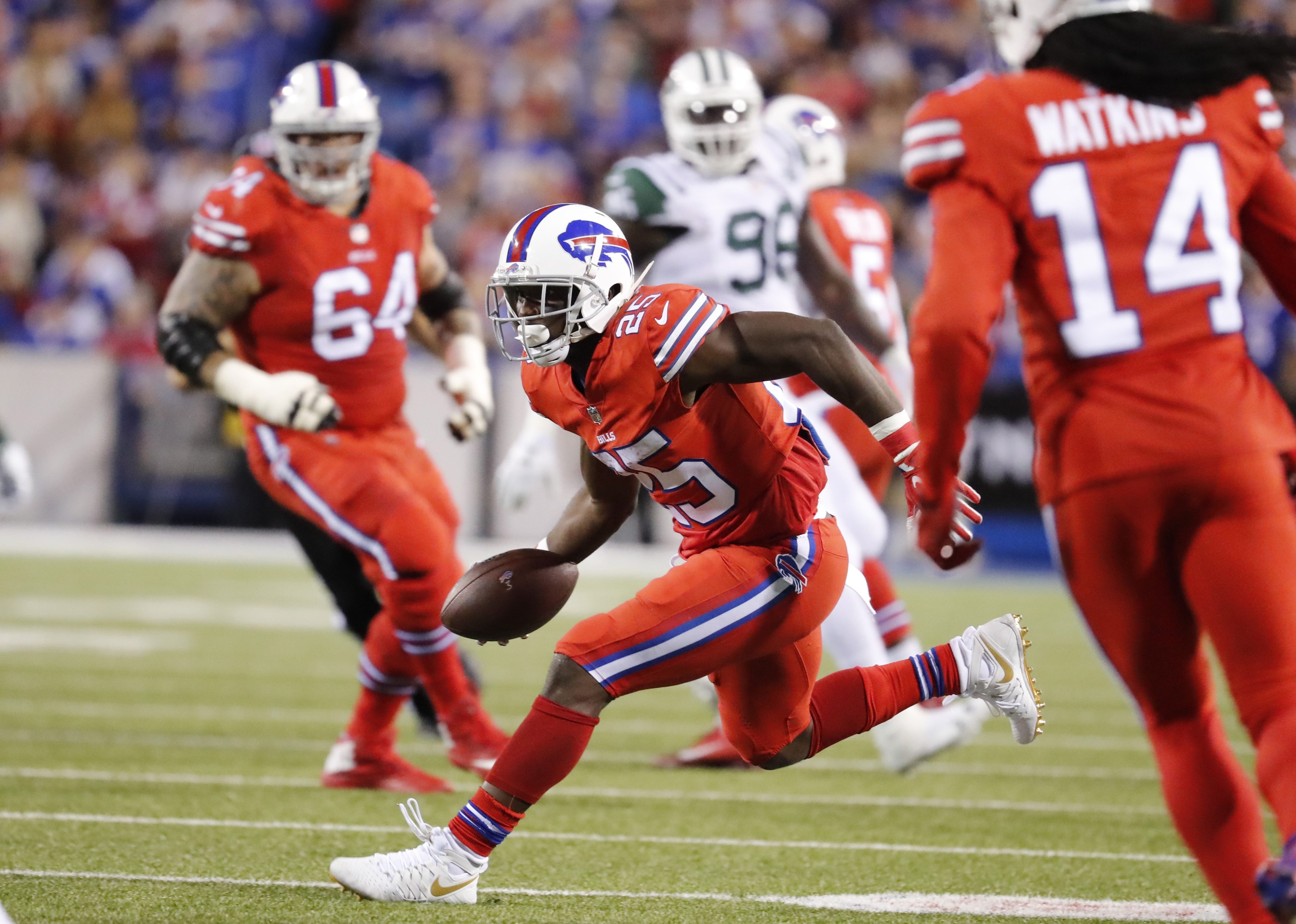 LeSean McCoy (25) and the Bills running game struggled against the Jets.