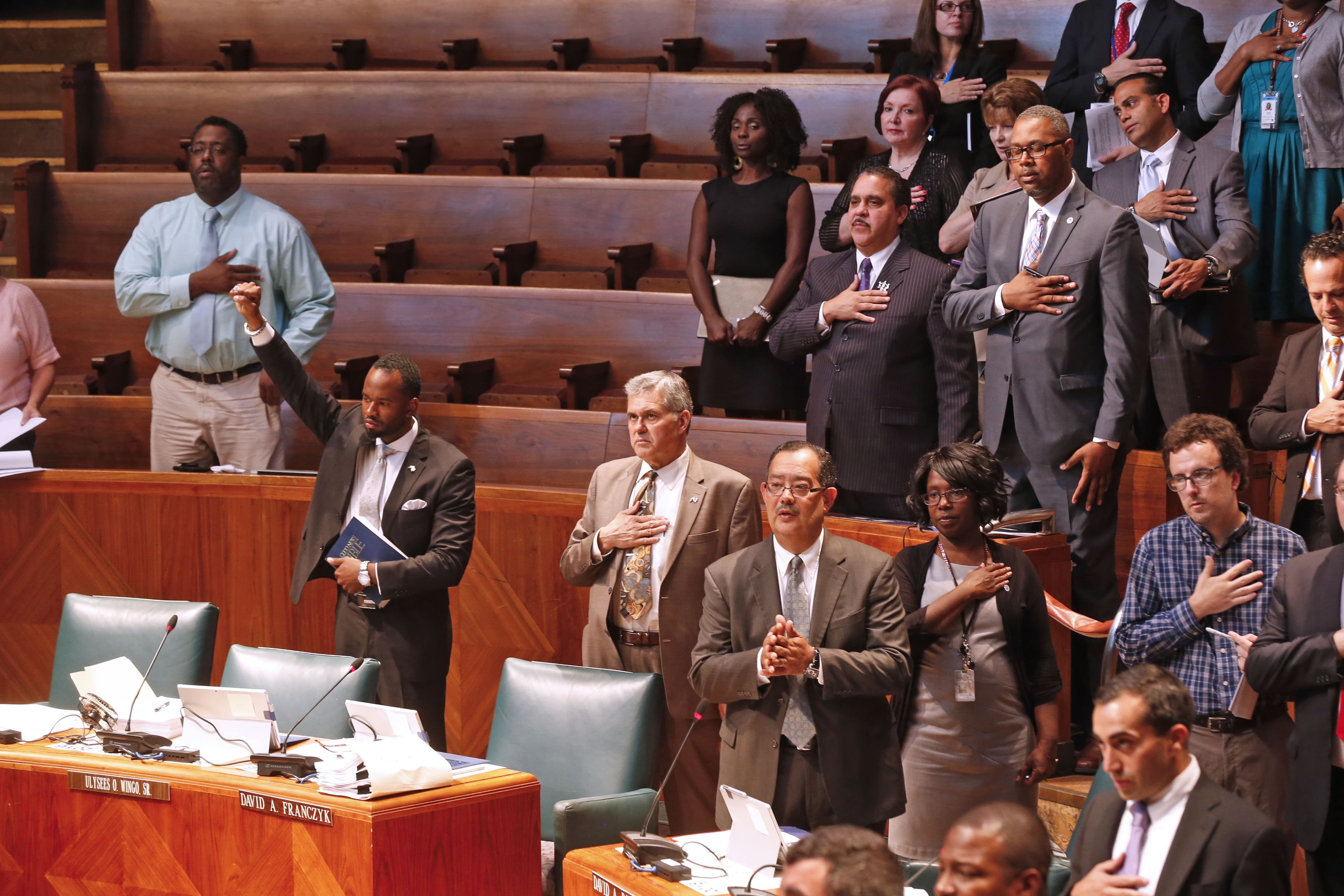Buffalo Common Council Member Ulysees O. Wingo Sr. prays instead of saying Pledge of Allegiance on Tuesday.