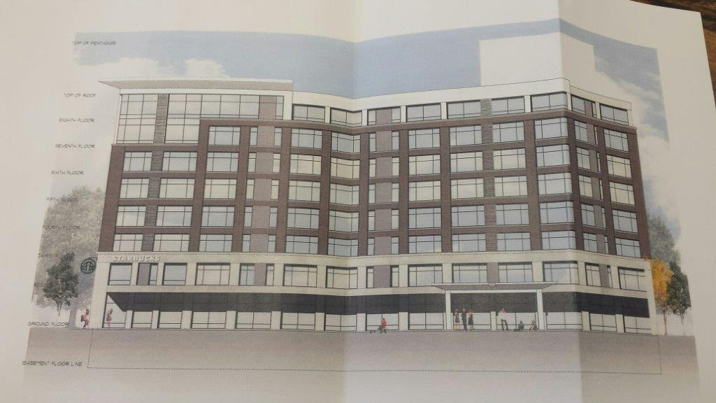 A drawing shows plans to transform the Holiday Inn Buffalo Downtown on Delaware Avenue into a Residence Inn.