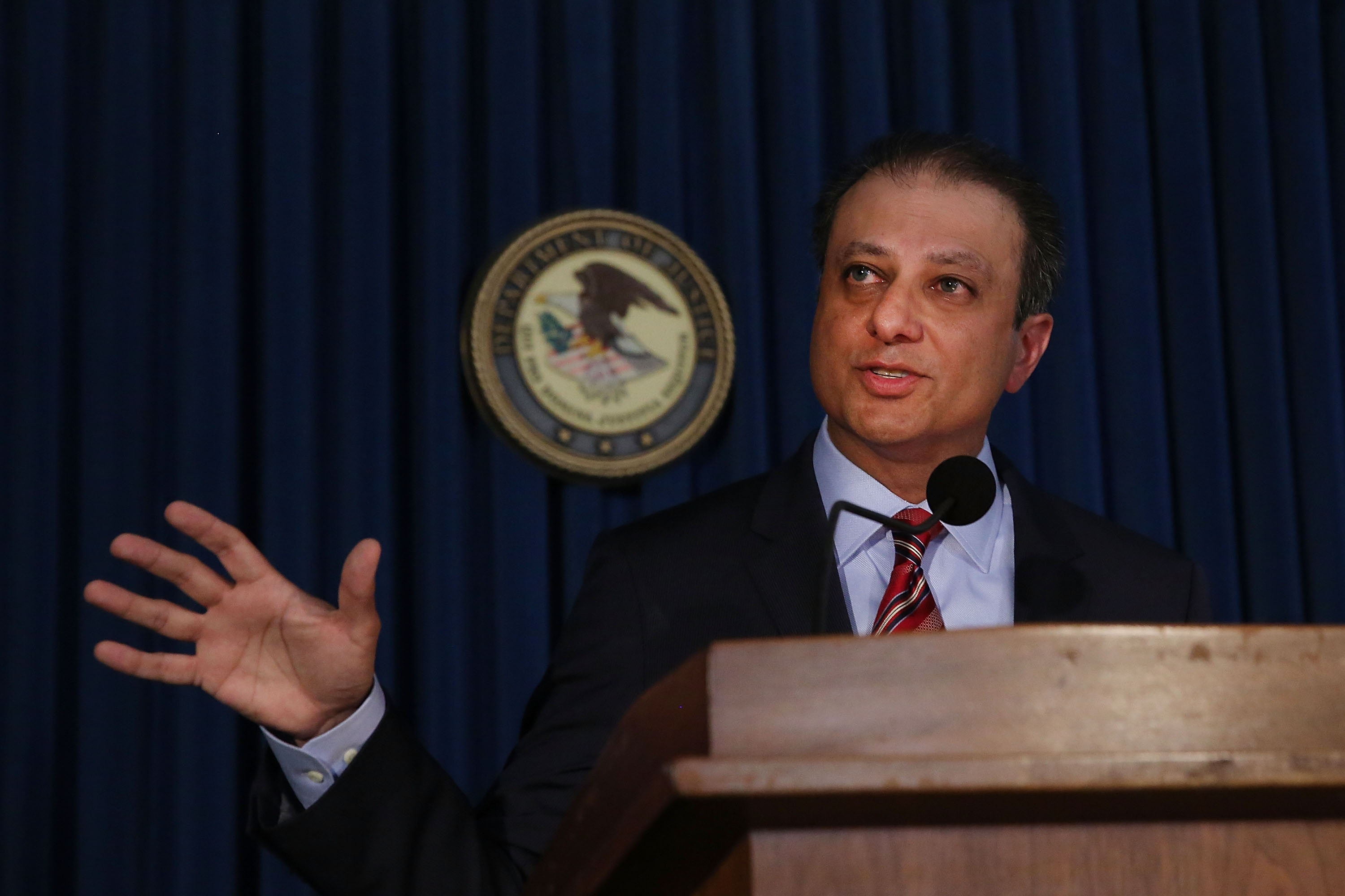 NEW YORK, NY - SEPTEMBER 17:  Manhattan U.S. Attorney Preet Bharara speaks at a news conference in Manhattan to announce that Federal prosecutors have reached an agreement with General Motors over a criminal investigation into how the Detroit automaker broke the law by concealing a deadly problem with small-car ignition switches on September 17, 2015 in New York City.  General Motors will pay $900 million to settle criminal charges in the case which has been tied to at least 124 deaths.  (Photo by Spencer Platt/Getty Images)