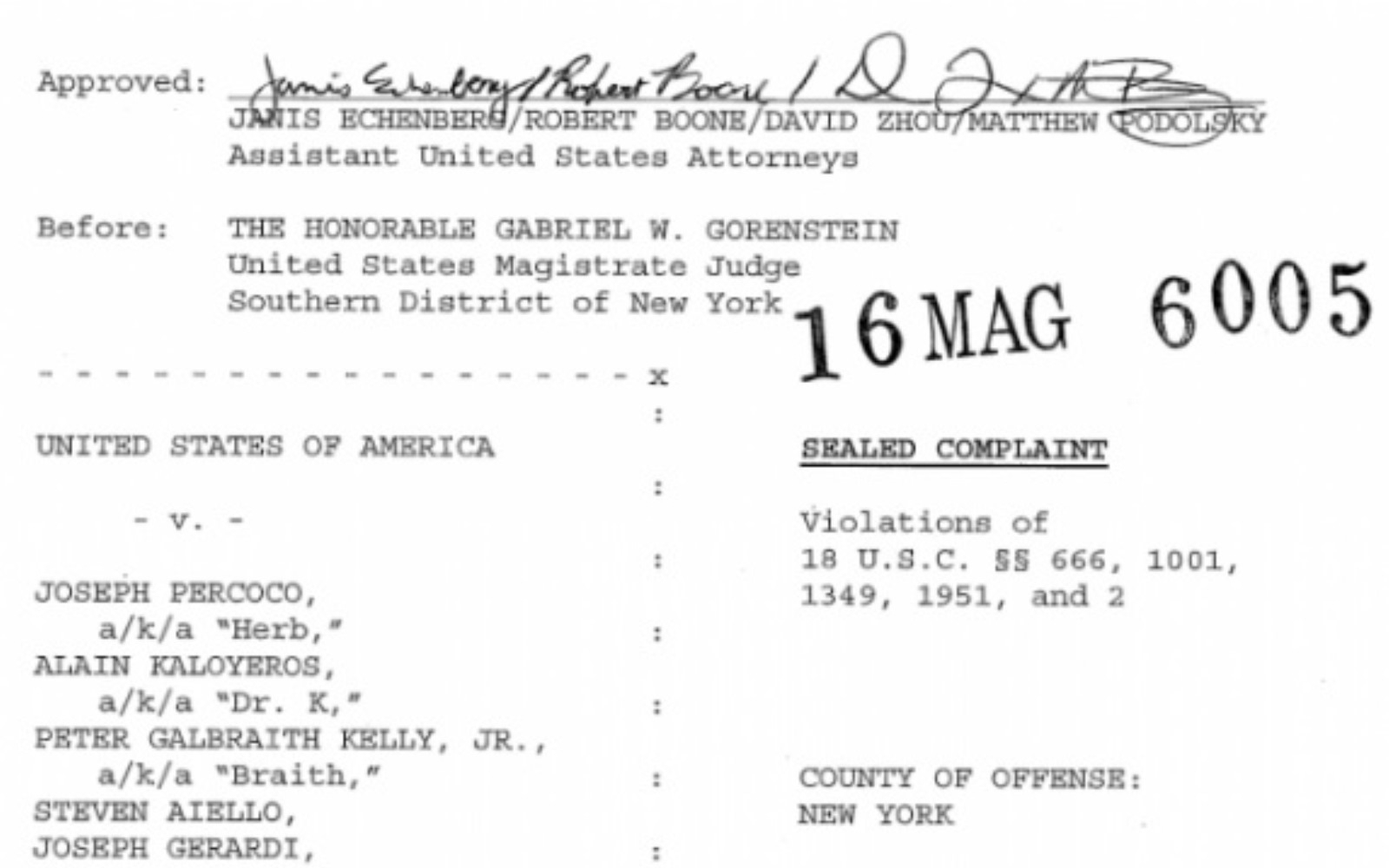 Key excerpts from the criminal complaint