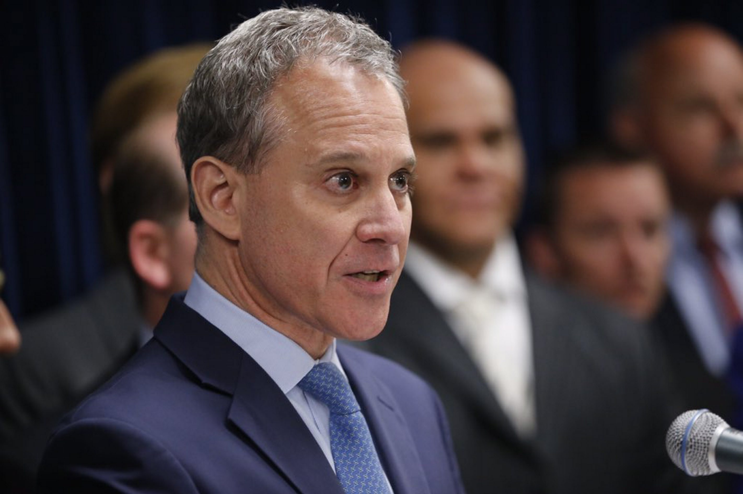 Attorney General Eric Schneiderman speaks at a news conference in Buffalo on Thursday to discuss the corruption cases against G. Steven Pigeon and John Michalek . (Derek Gee/Buffalo News)