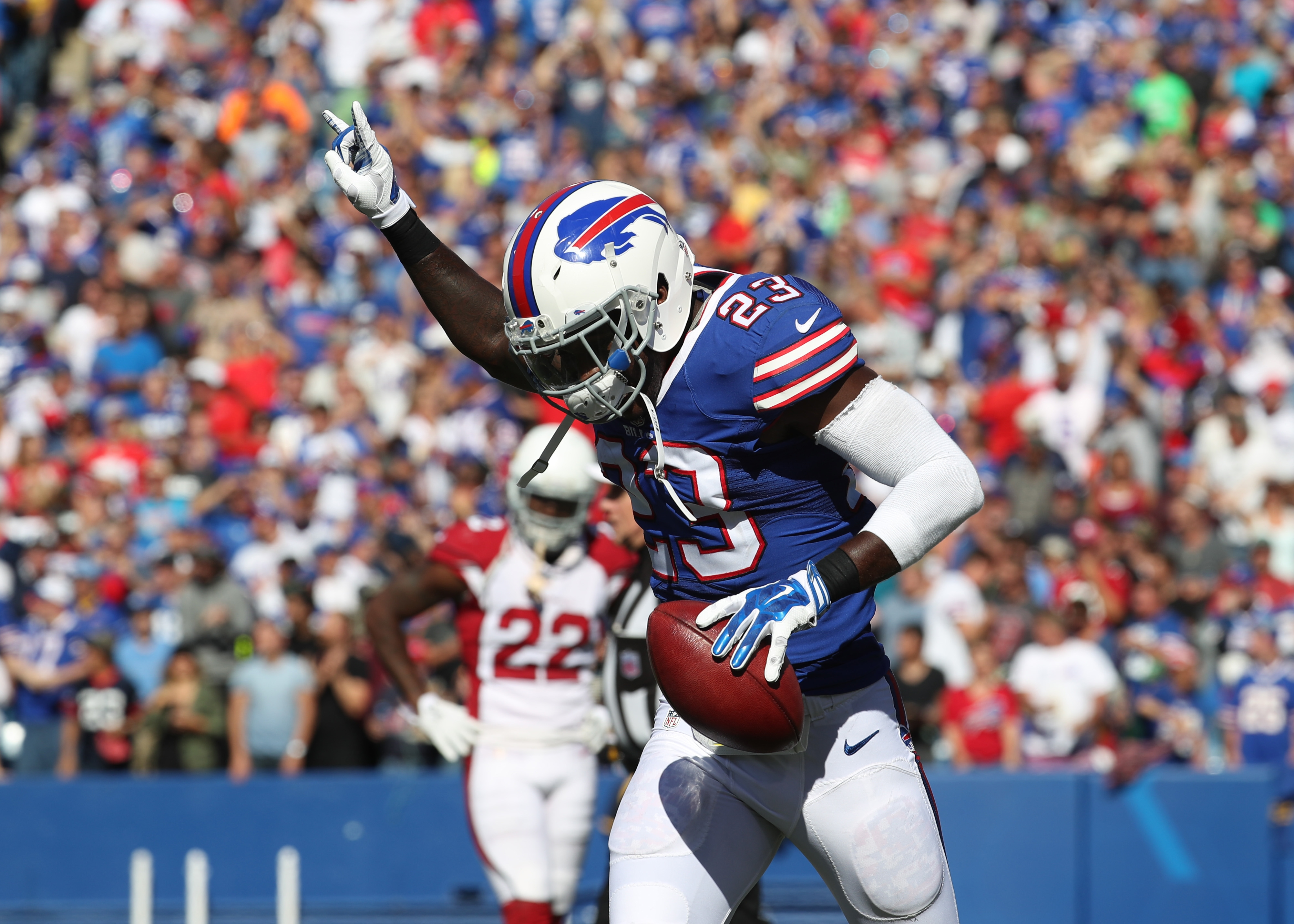 Buffalo Bills safety Aaron Williams celebrates his fumble recovery and touchdown in the third quarter against the Arizona Cardinals at New Era Field in Orchard Park, N.Y. on Sunday, Sept. 25, 2016.  (James P. McCoy/ Buffalo News)