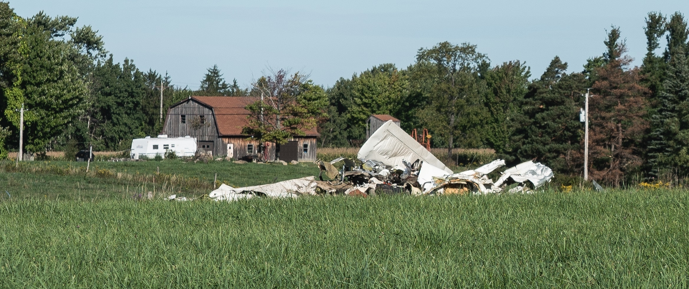 Part of the wreckage in North Collins on Sunday morning. (Photo courtesy of Brian Schmitt)