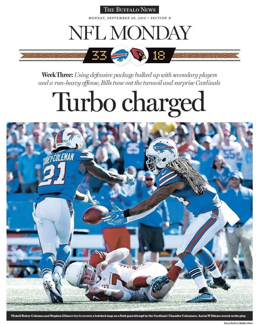 NFL Monday cover design by Jason Baum. Photo by Harry Scull Jr.