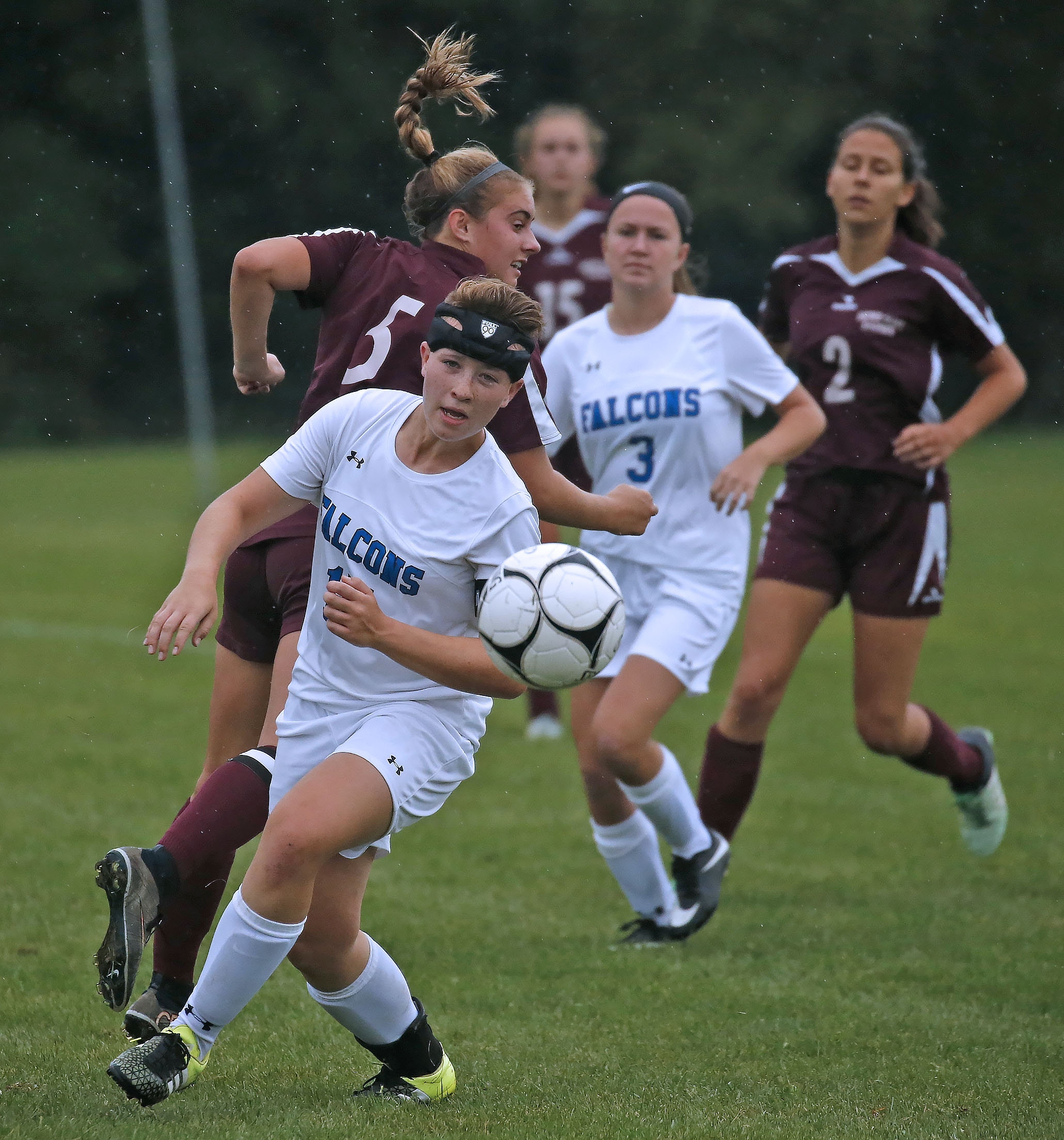 Frontier's Jysenia Dunlavey wears a protective headband while playing in a game against Sacred Heart Academy.