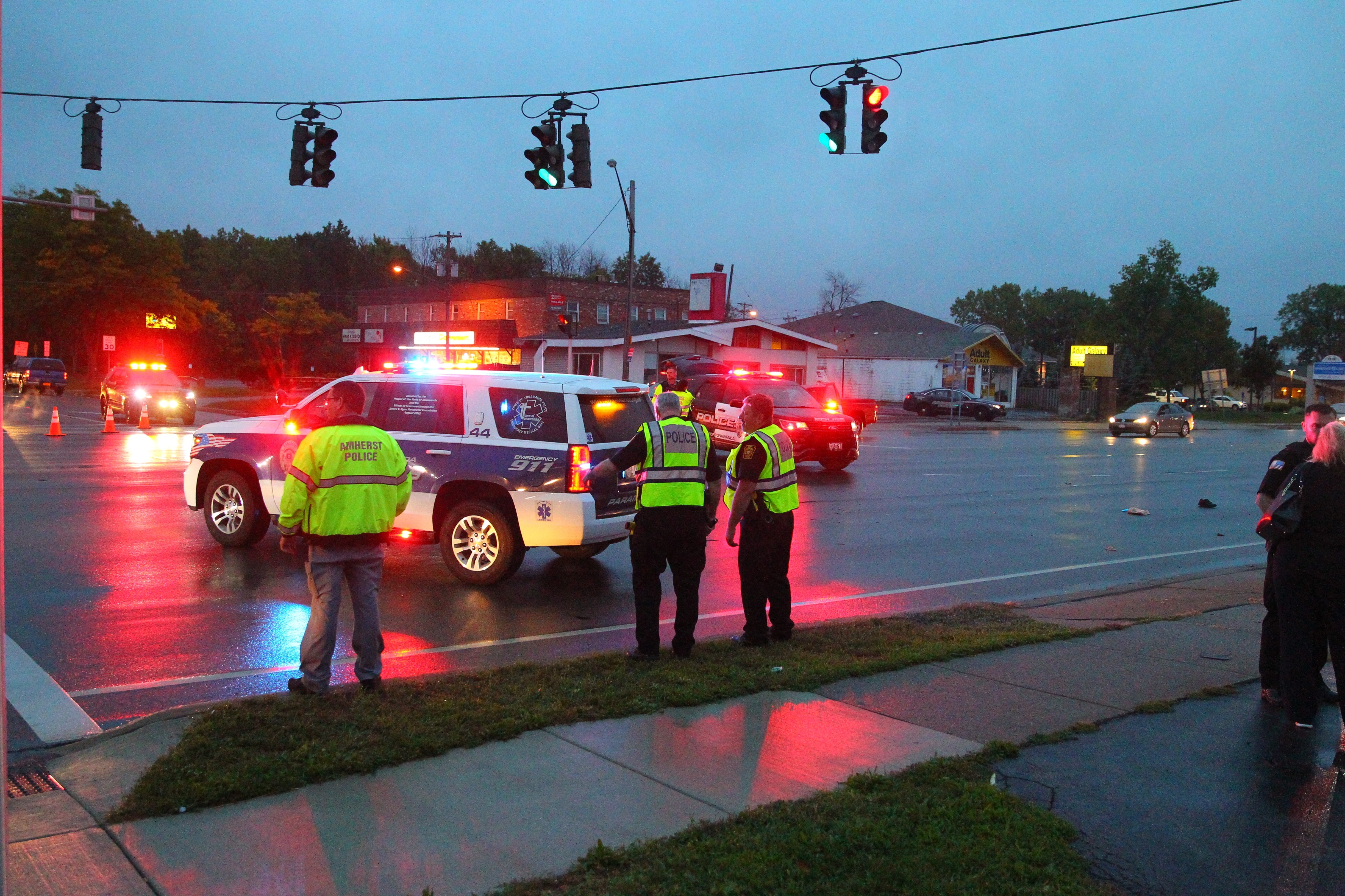 Tonawanda Police on the scene where a pedestrian was taken to ECMC after being hit by a vehicle at the intersection of Southbound lane of Niagara Falls Blvd. and Willow Ridge in Town of Tonawanda, N.Y. on Thursday Sept. 29, 2016.   (John Hickey/Buffalo News)