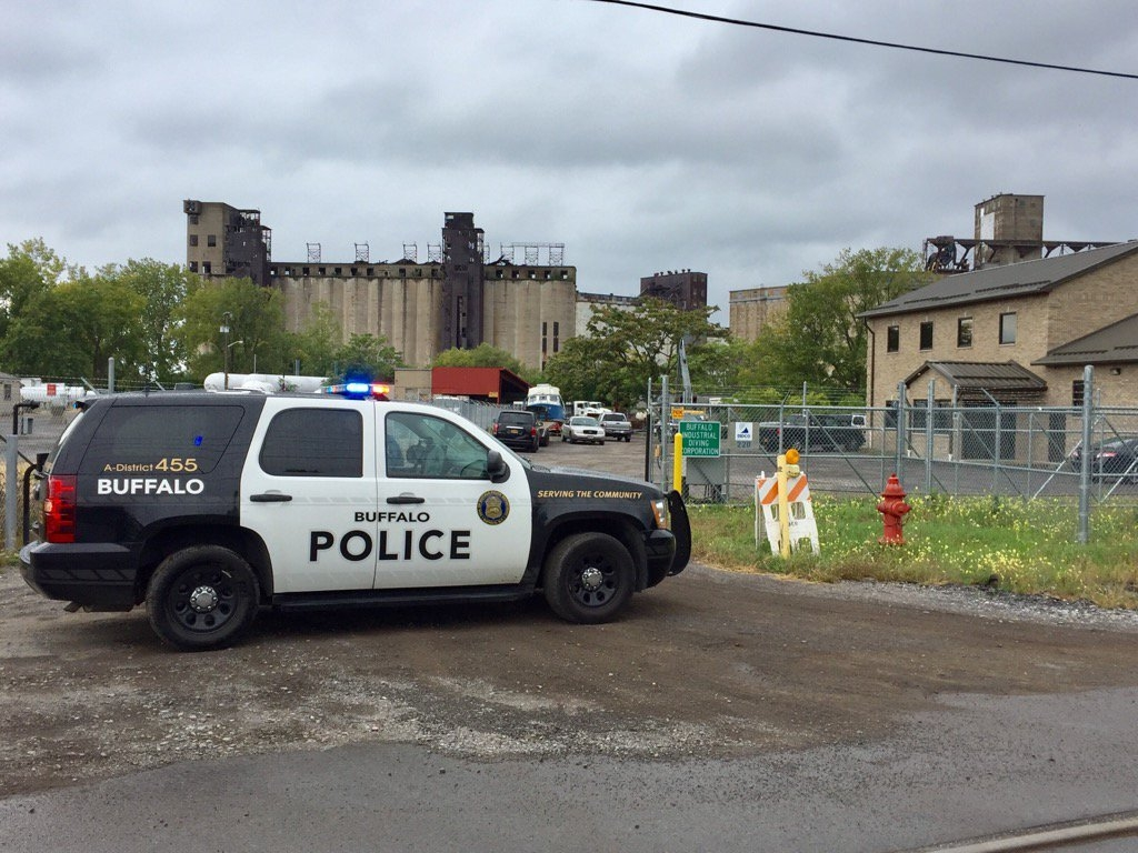Buffalo Police are on the scene of an industrial accident on Katherine Street in the Old First Ward. (Robert Kirkham/Buffalo News)