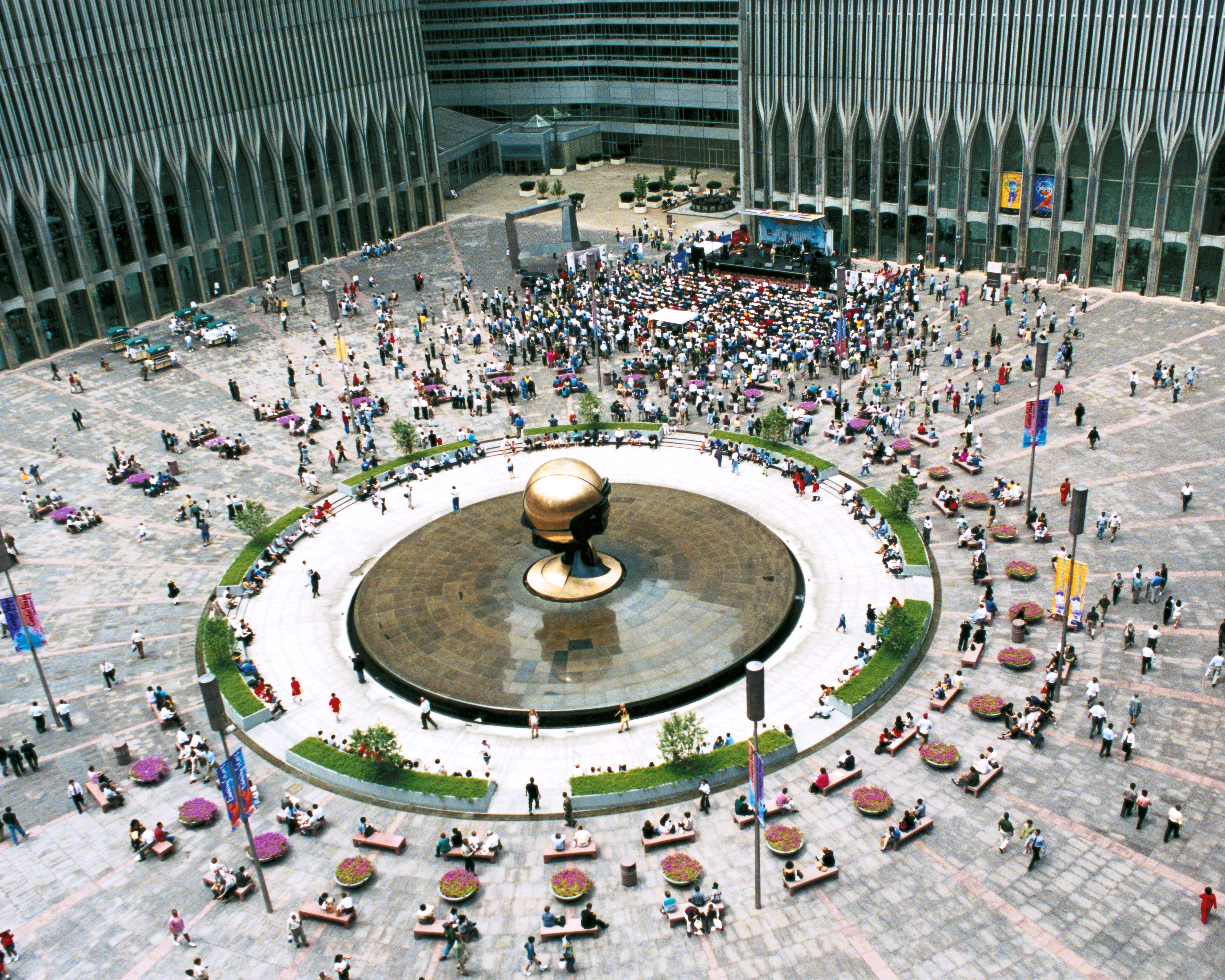 """""""The Sphere at Fountain Plaza,"""" sculpture by Fritz Koenig, before the terrorist attacks of Sept. 11, 2001. (Photo courtesy Port Authority of New York and New Jersey)"""