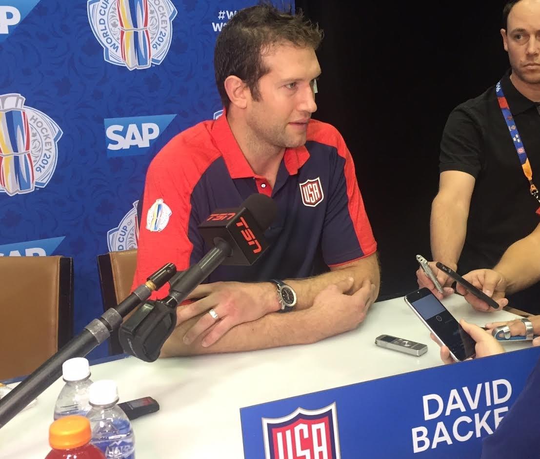 David Backes meets reporters today in the wake of Team USA's loss to Canada Tuesday night (Mike Harrington/Buffalo News).