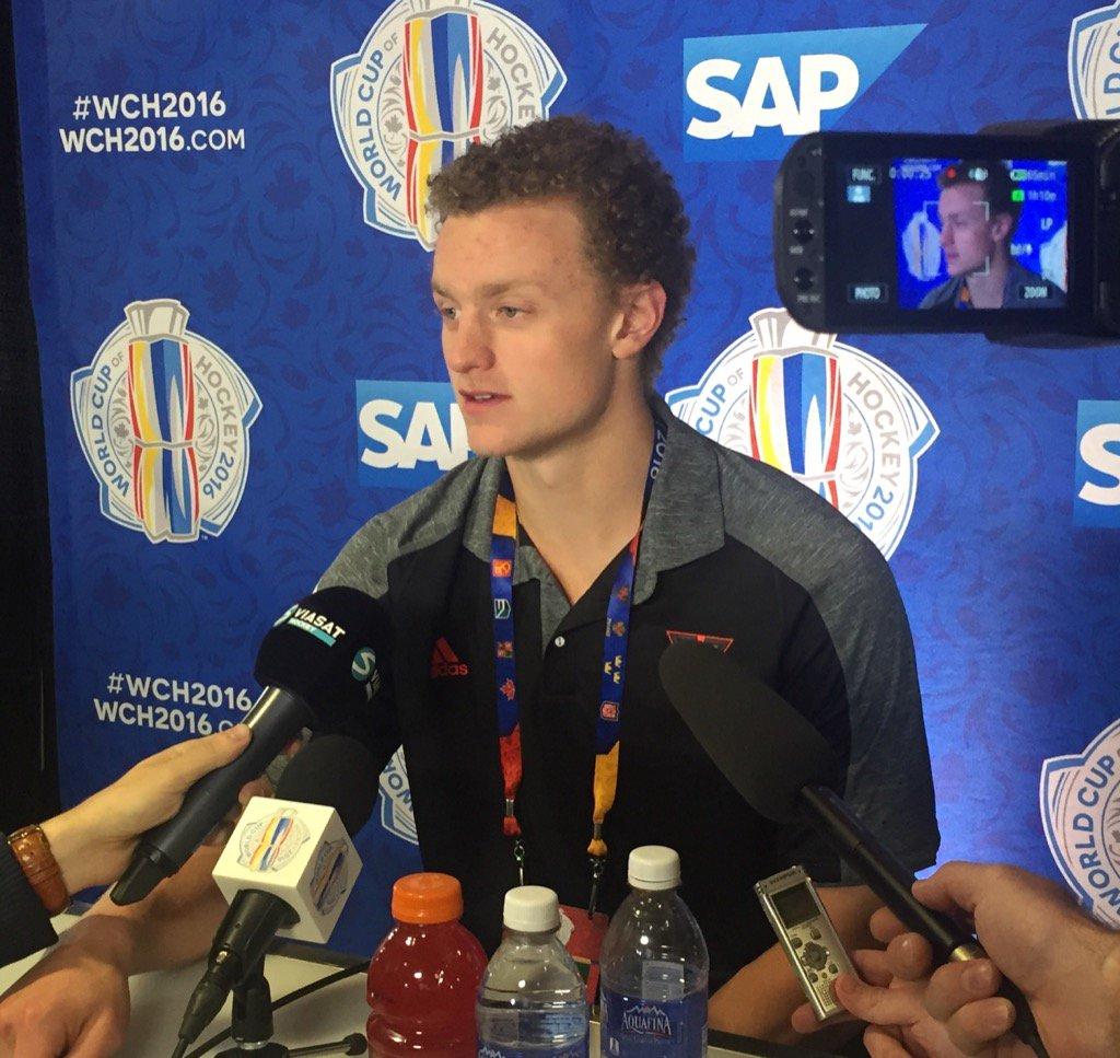 Jack Eichel meets the media Thursday in Toronto (Mike Harrington/Buffalo News).