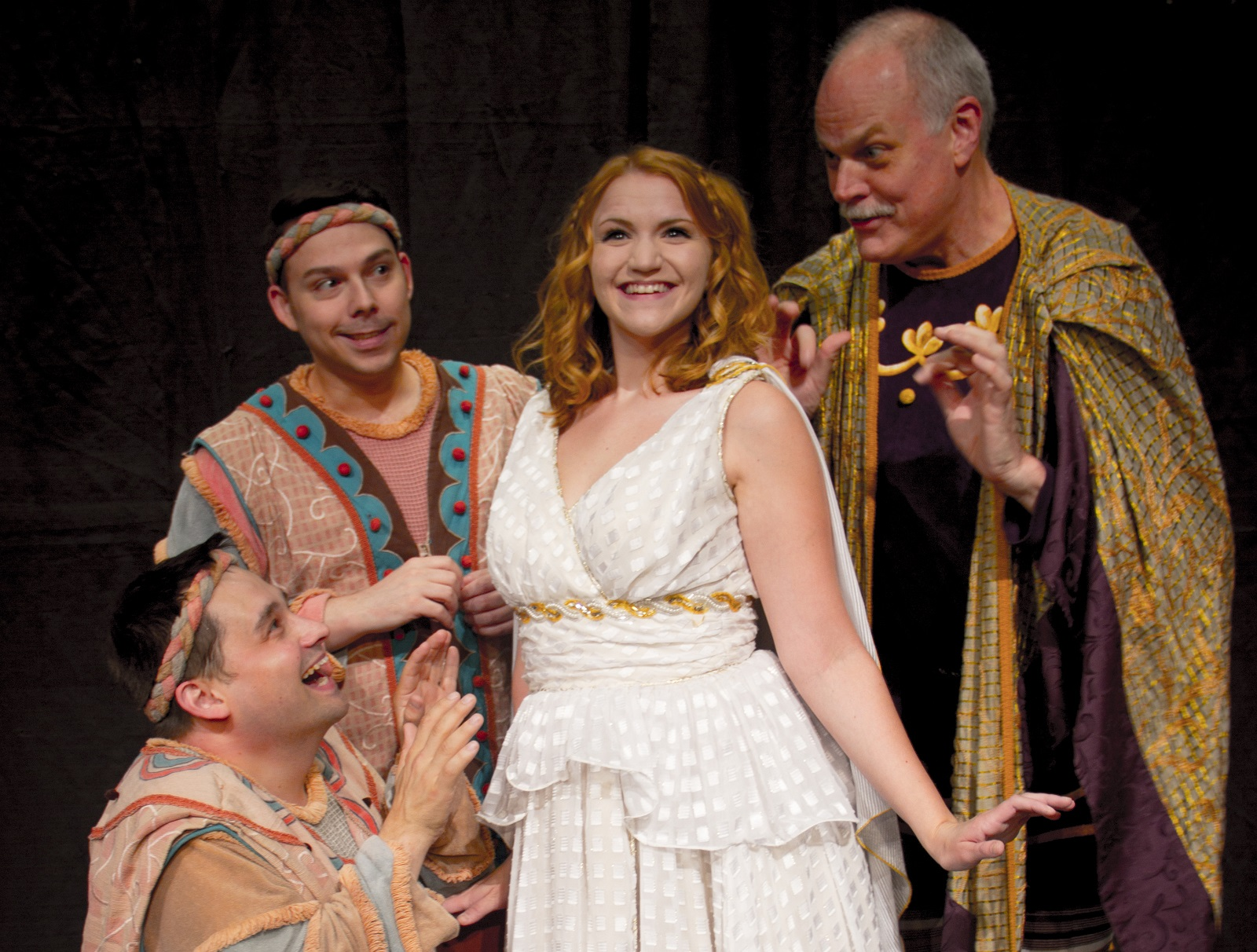 David Bondrow, Marc Sacco, Chrissy Vogric and Tim Hartman star in the Lancaster Opera House production of 'A Funny Thing Happened on the Way to the Forum.'