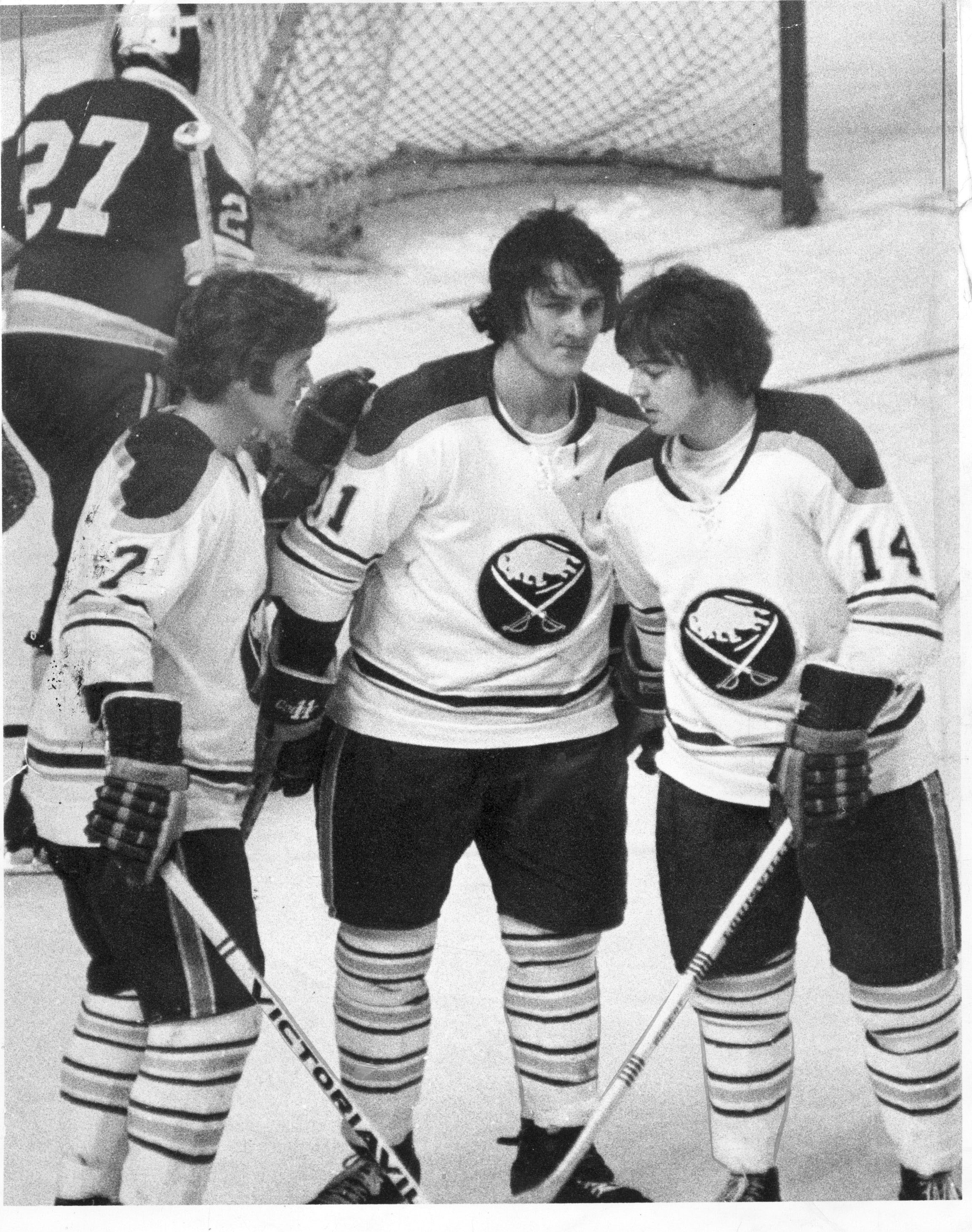 Rick Martin, Gilbert Perreault and Rene Robert, the Sabres' French Connection, from Jan. 20, 1974. (News file photo).
