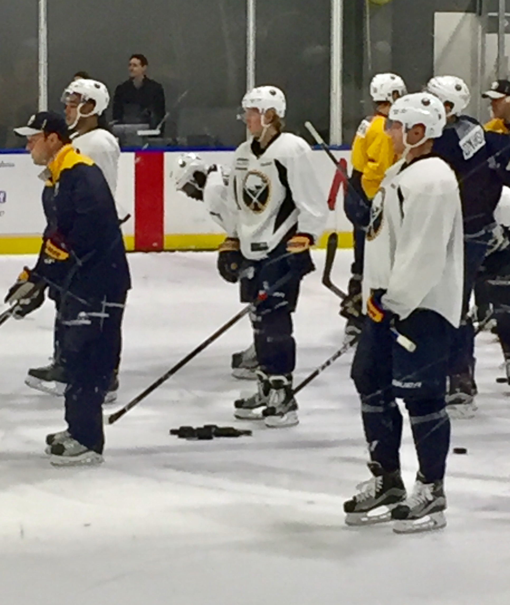 Alexander Nylander, center, skated with new linemates Sunday: left wing Nicholas Baptiste and right wing Hudson Fasching.