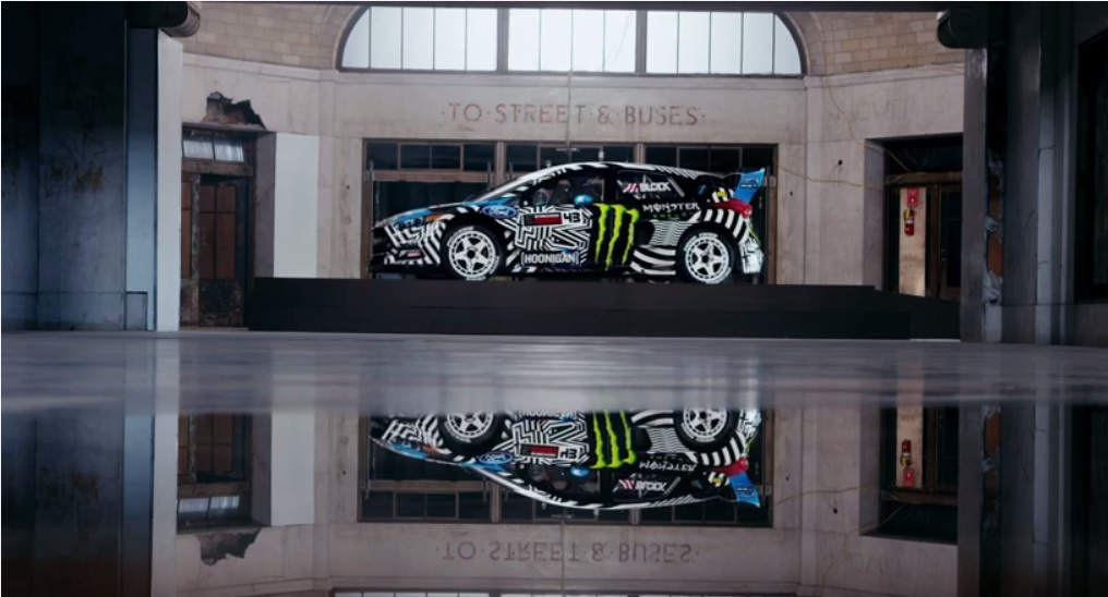 The calm before the storm - Ken Block's 2016 Ford Focus RS RX sits in the Central Terminal before zooming around Buffalo. (YouTube screenshot)