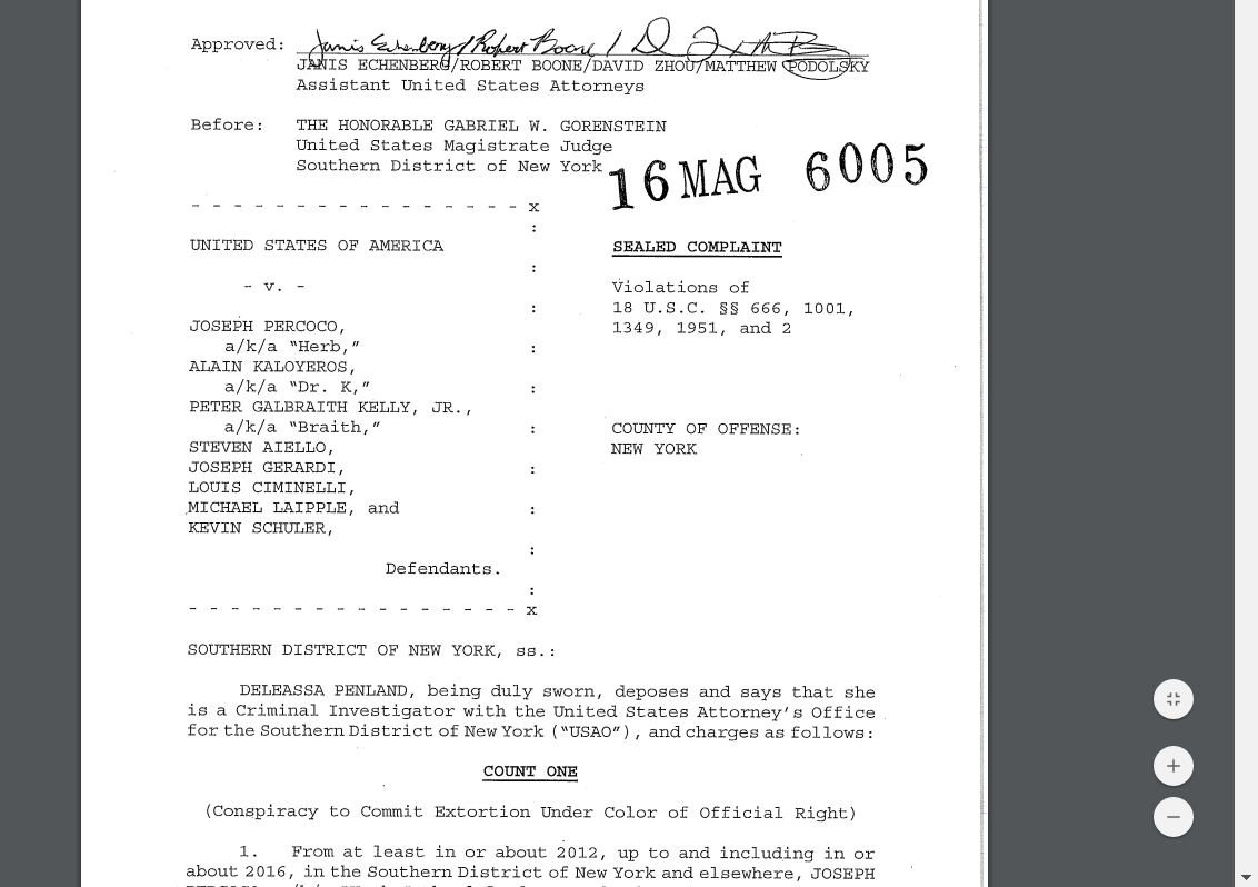 Key excerpts from the criminal complaint against Ciminelli, Percoco, Kaloyeros