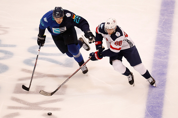 Patrick Kane works against Team Europe's Leon Draisaitl (Getty Images).