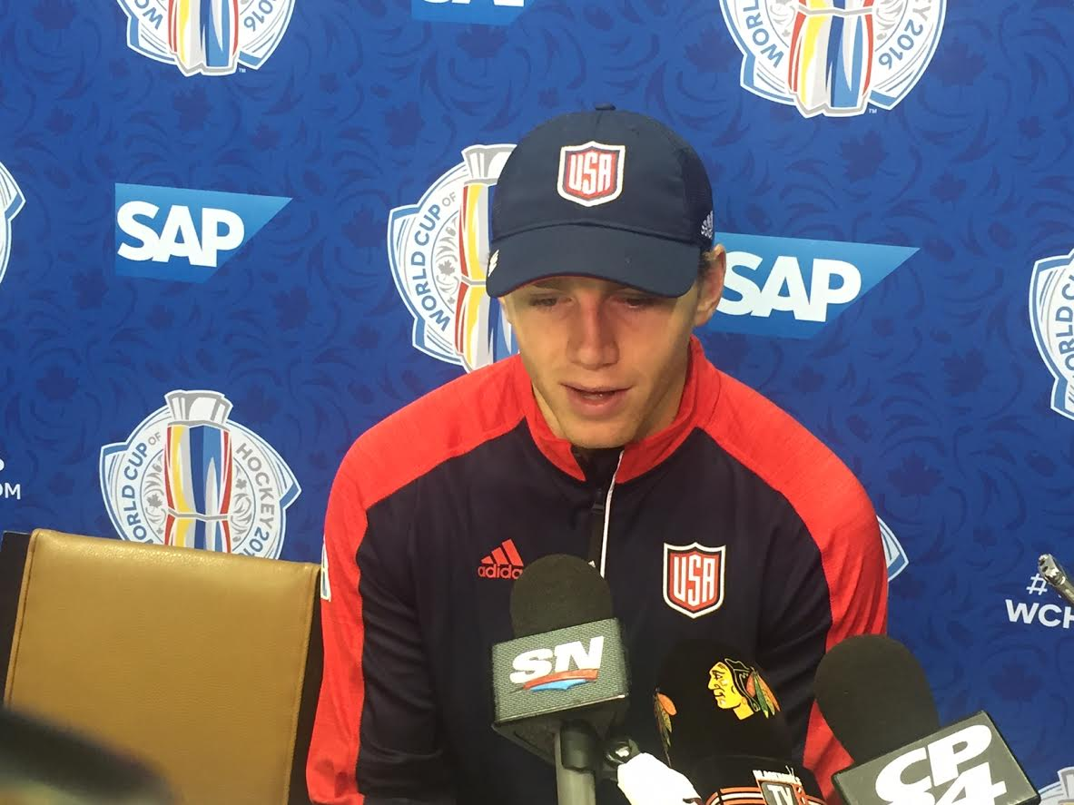 Patrick Kane speaks with reporters today in Toronto in advance of the USA-Canada game (Mike Harrington/Buffalo News).