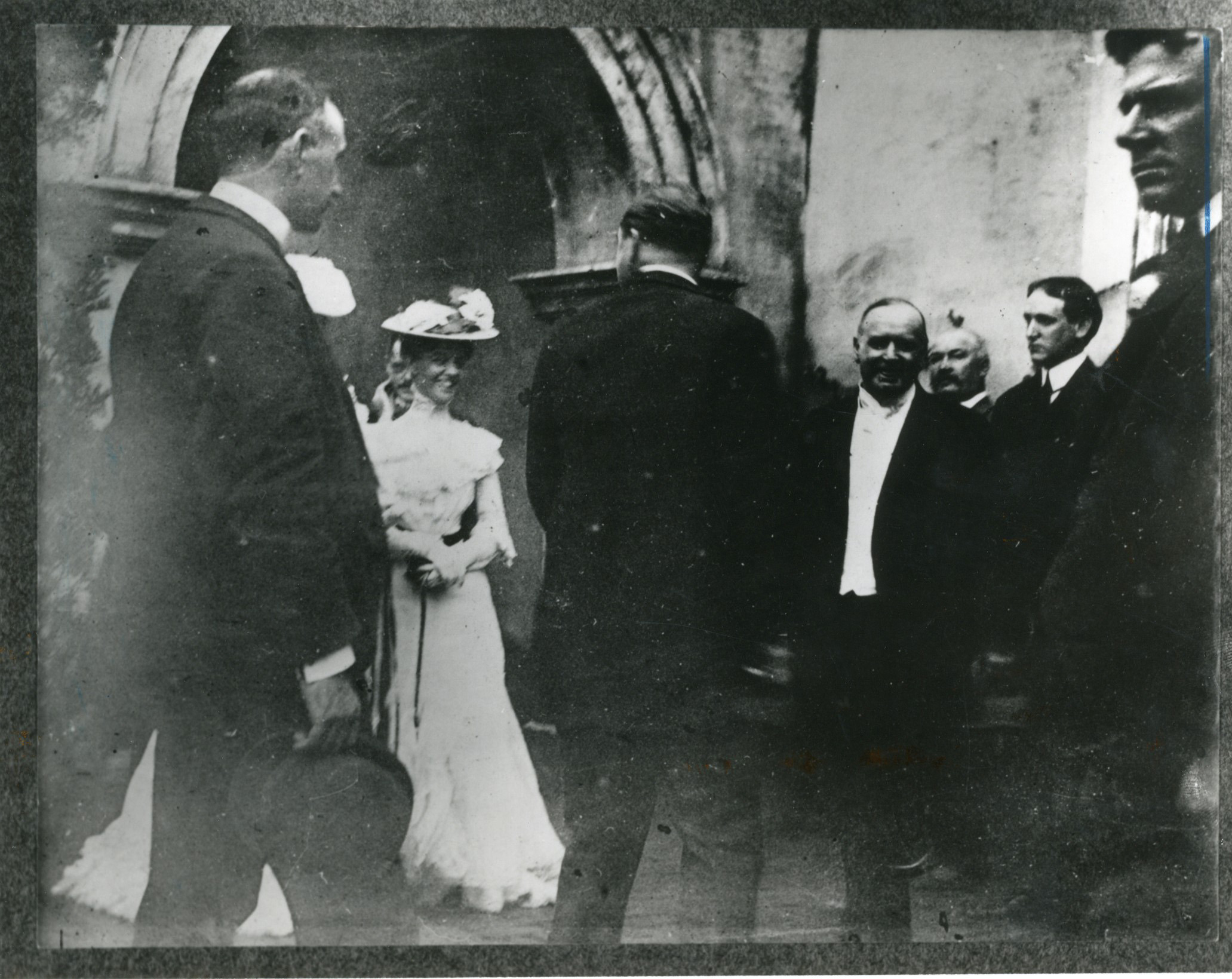 President William McKinley, facing the camera, at a reception, minutes before her was shot. Ida McKinley was resting at the Milburn House when her husband was shot.