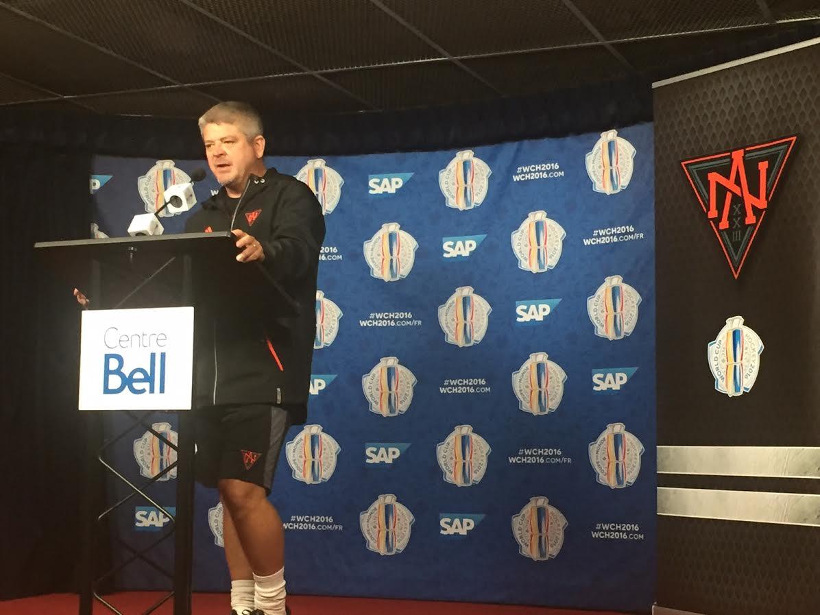 Team North America coach Todd McLellan addresses reporters Monday in Montreal (Mike Harrington/Buffalo News).