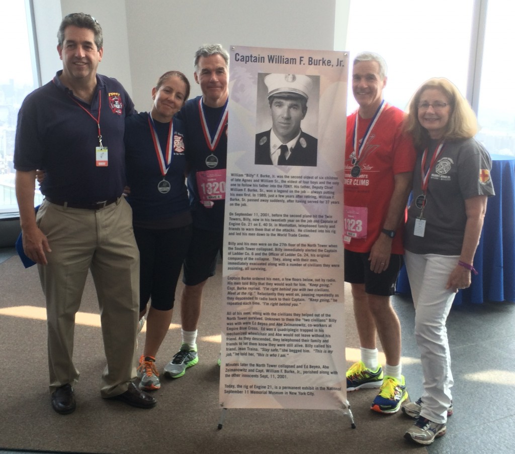 Michael Burke (wearing red shirt) with his siblings following a 2015 stair climb at One World Trade in honor of their brother, Capt. Billy Burke, who died in the Sept. 11, 2001 terrorist attacks. (Photo courtesy Burke family)
