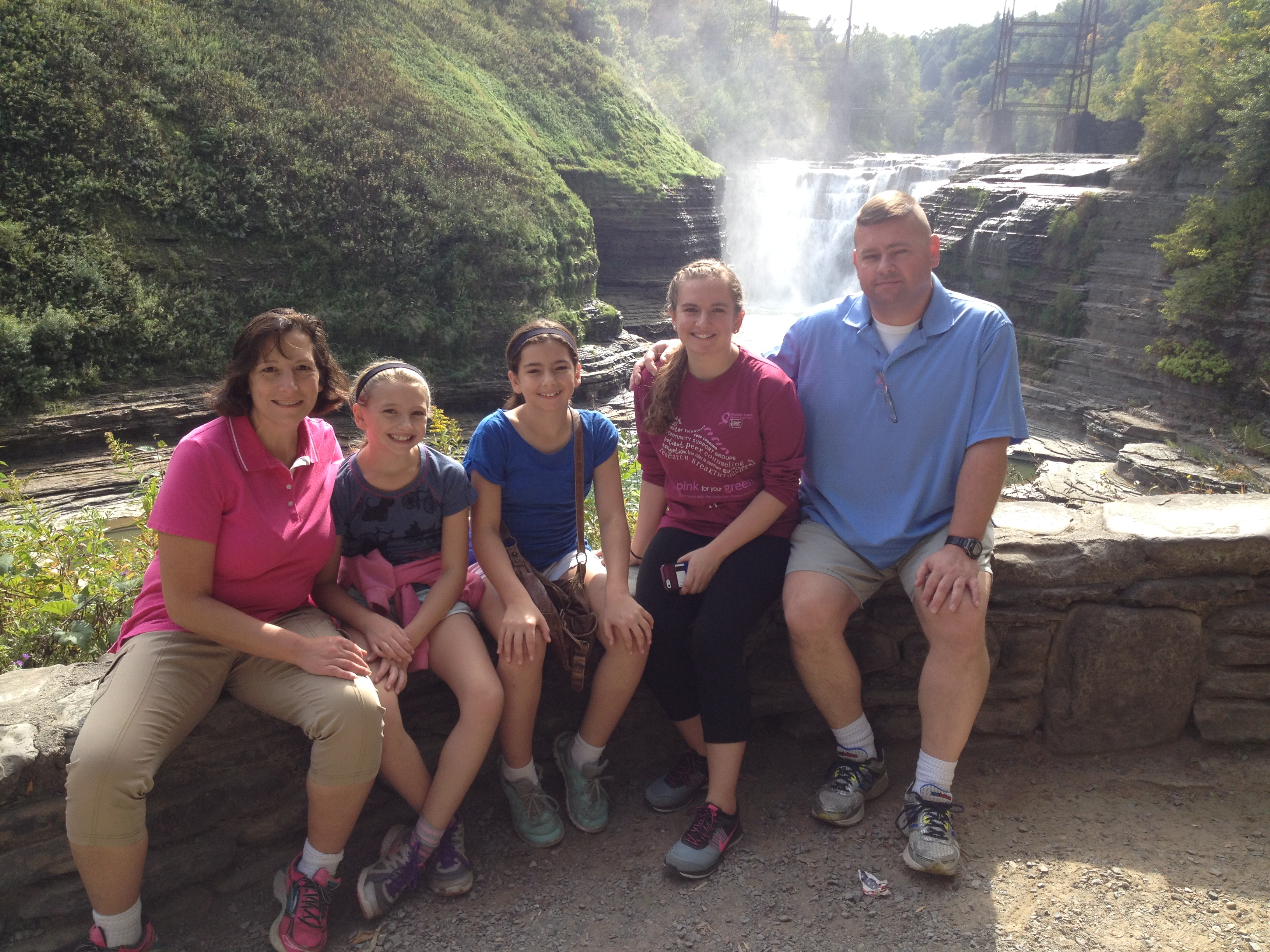 Jim Reeves, right, with, from left, Terri, Olivia, Cloe and Emily Reeves last year at Letchworth State Park.