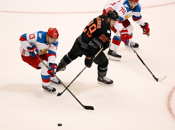 Russia's Pavel Datsyuk takes the puck away from Team North America's Nathan MacKinnon (Getty Images).