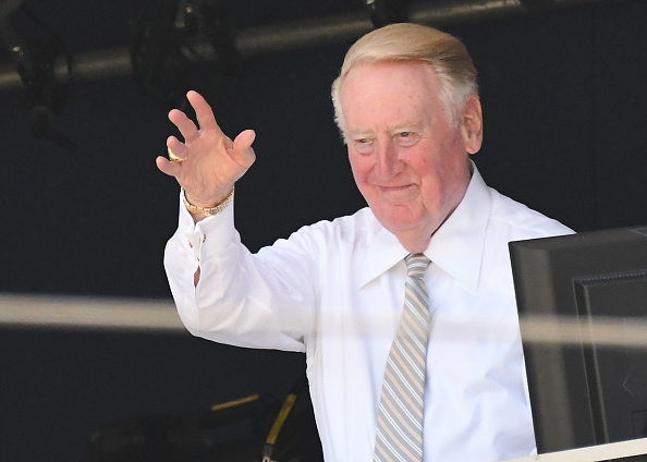 Legendary broadcaster Vin Scully will say farewell to the Dodger Stadium booth on Sunday (Getty Images).