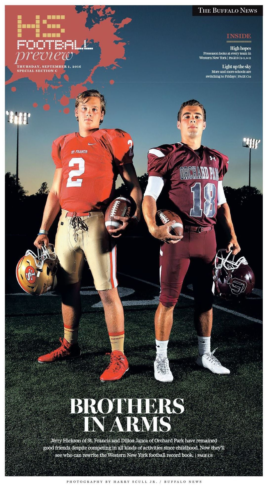 The cover of our 2015 high school football preview. Design by Jason Baum. Photography by Harry Scull Jr.