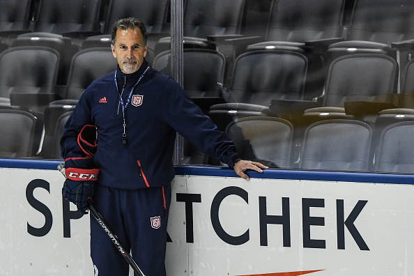 Team USA coach John Tortorella watches his team practice (Getty Images).