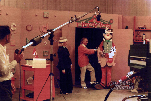 Behind the scenes at the Uncle Bobby Show with Bimbo the Birthday Clown, 1976. (Buffalo Stories archives)