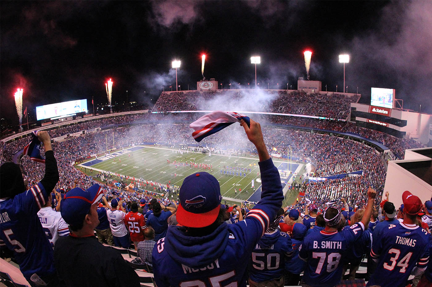 Pictures, Bill fans cheer as their team takes the field for the Jets game at New Era Field in Orchard Park, N.Y. on Thursday, Sept. 15, 2016. (James P. McCoy/ Buffalo News)