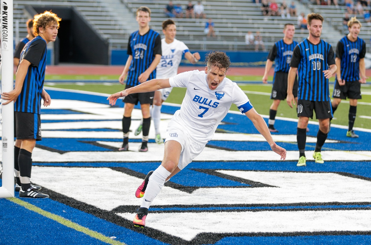 Russell Cicerone celebrates one of his five goals against Daemen. (UBBulls.com)