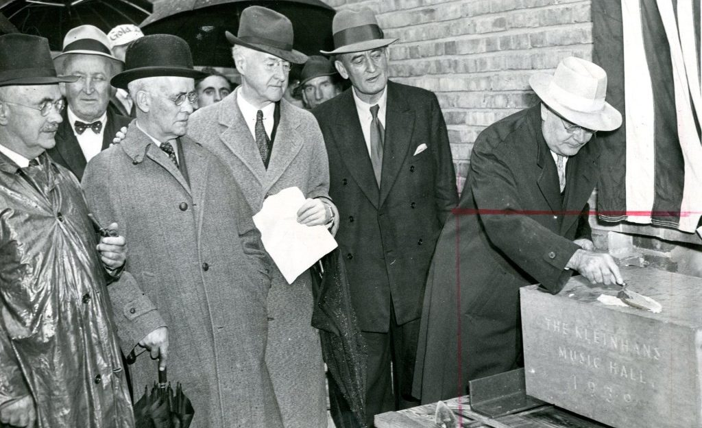 William A. Kidd and Franklin J. Kidd, architects for the $1,250,000 structure: Edward H. Letchworth, president of Kleinhans Music Hall Inc., and Col. M. E. Gilmore, regional Federal Works director.'